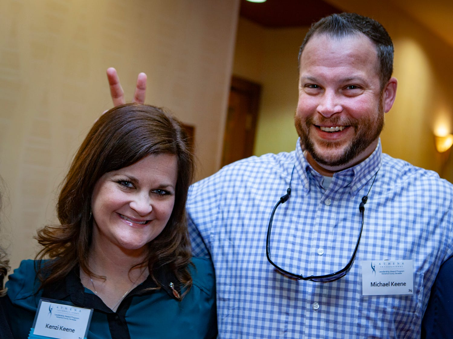 Michael Keene a bit of fun with wife  Kenzi Keene, a nominee at the annual ATHENA Leadership Awards, hosted by Rutherford Cable Friday, April 12, 2019 at Embassy Suites Murfreesboro.