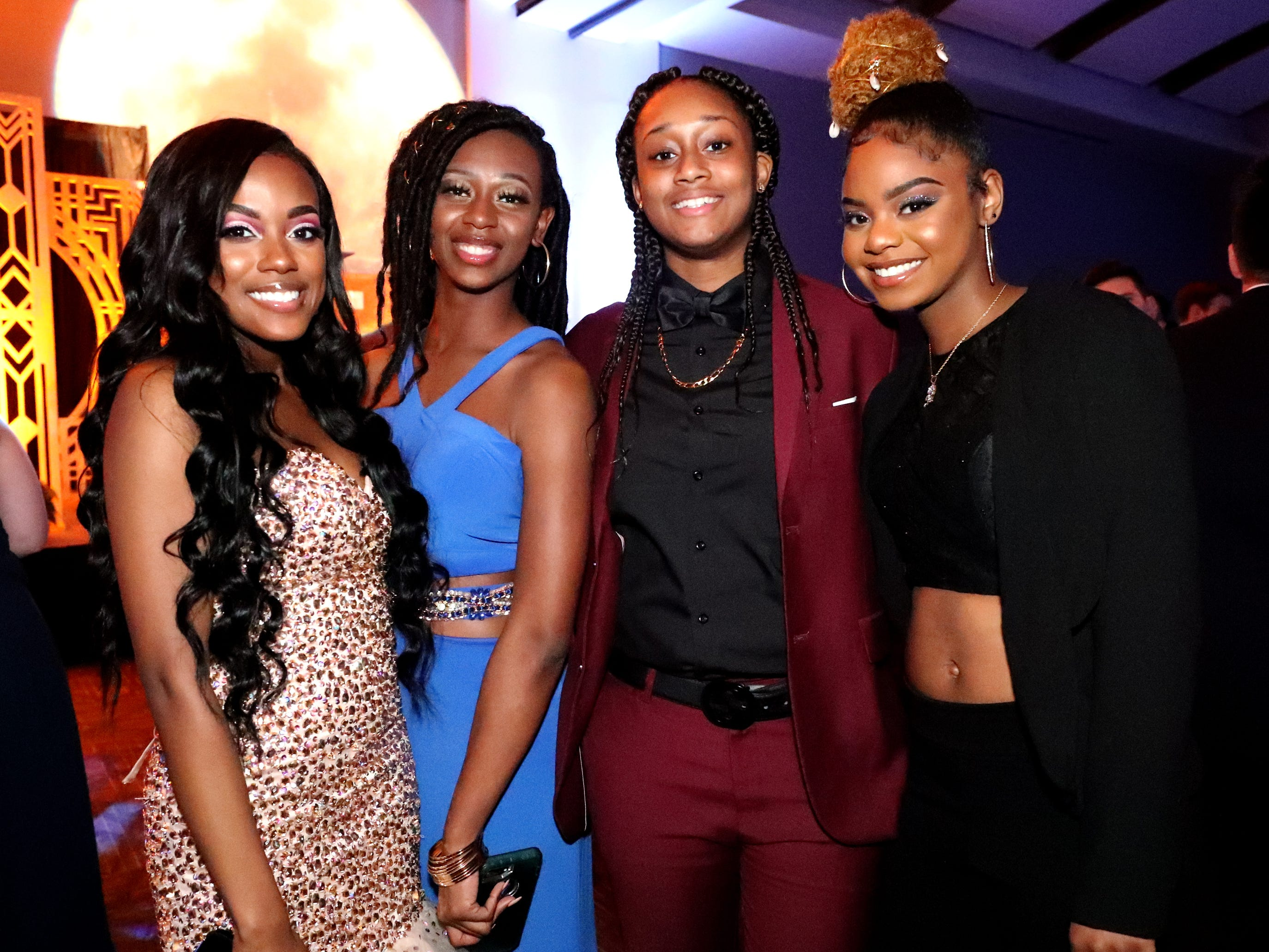 (Left to Right) Kalicia Orr, T'karia Patrick, GeeGee Hollingsworth-Pugh and Jaliyah Carpenter at Blackman's prom on Friday April 12, 2019, at MTSU.