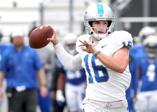 MTSU quarterback Chase Cunningham (16)  continues to try and follow Brent Stockstill's path as he aims to be MTSU's next starting quarterback.