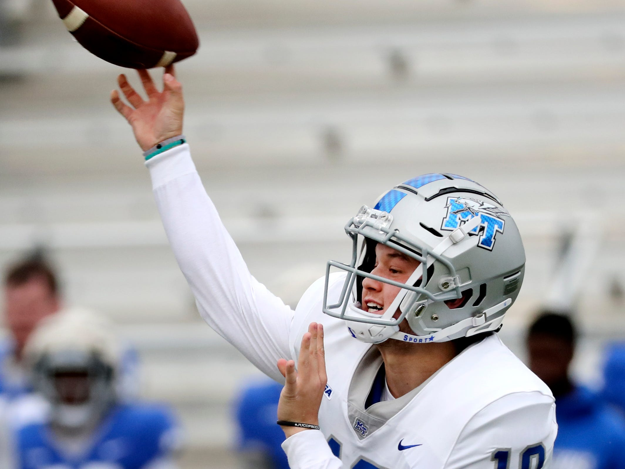 "MTSU's quarterback Asher O'Hara (10) passes the ball during MTSU's Blue-White Spring Finale held on Saturday April 13, 2019, at MTSU's Johnny ""Red"" Floyd Stadium."