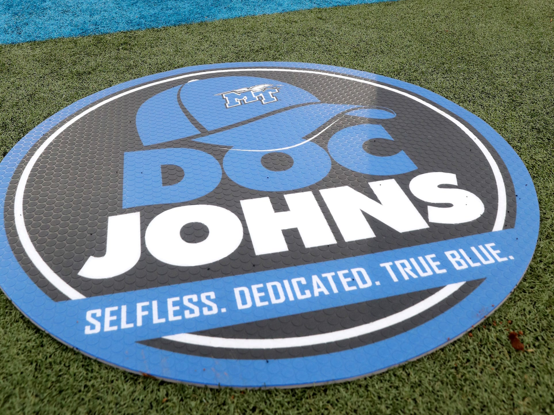 "A tribute to Dr. Tom Johns was seen on the sidelines during the MTSU's Blue-White Spring Finale held on Saturday April 13, 2019, at MTSU's Johnny ""Red"" Floyd Stadium."