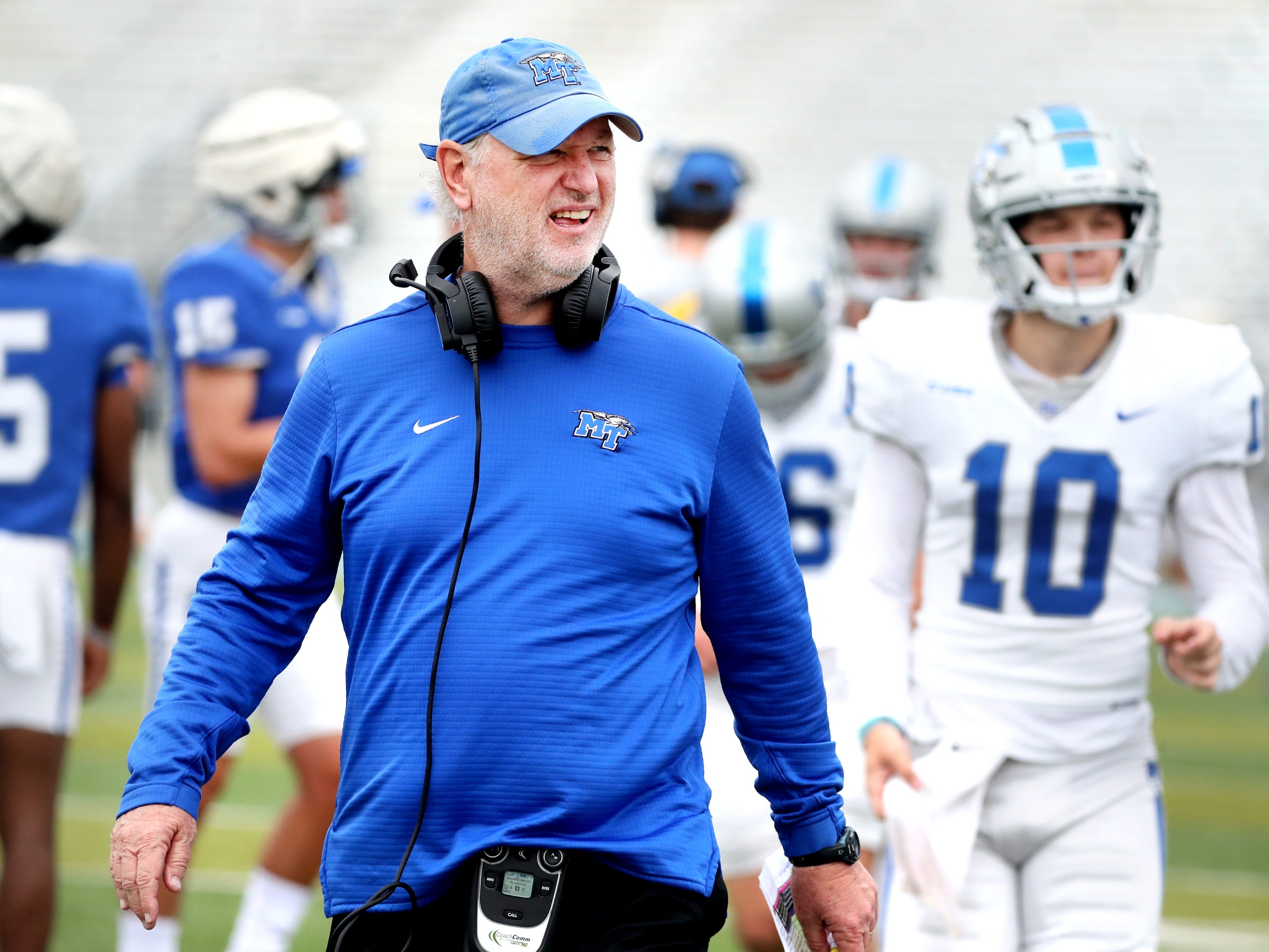"MTSU's Offensive Coordinator and quarterback coach Tony Franklin during MTSU's Blue-White Spring Finale held on Saturday April 13, 2019, at MTSU's Johnny ""Red"" Floyd Stadium."