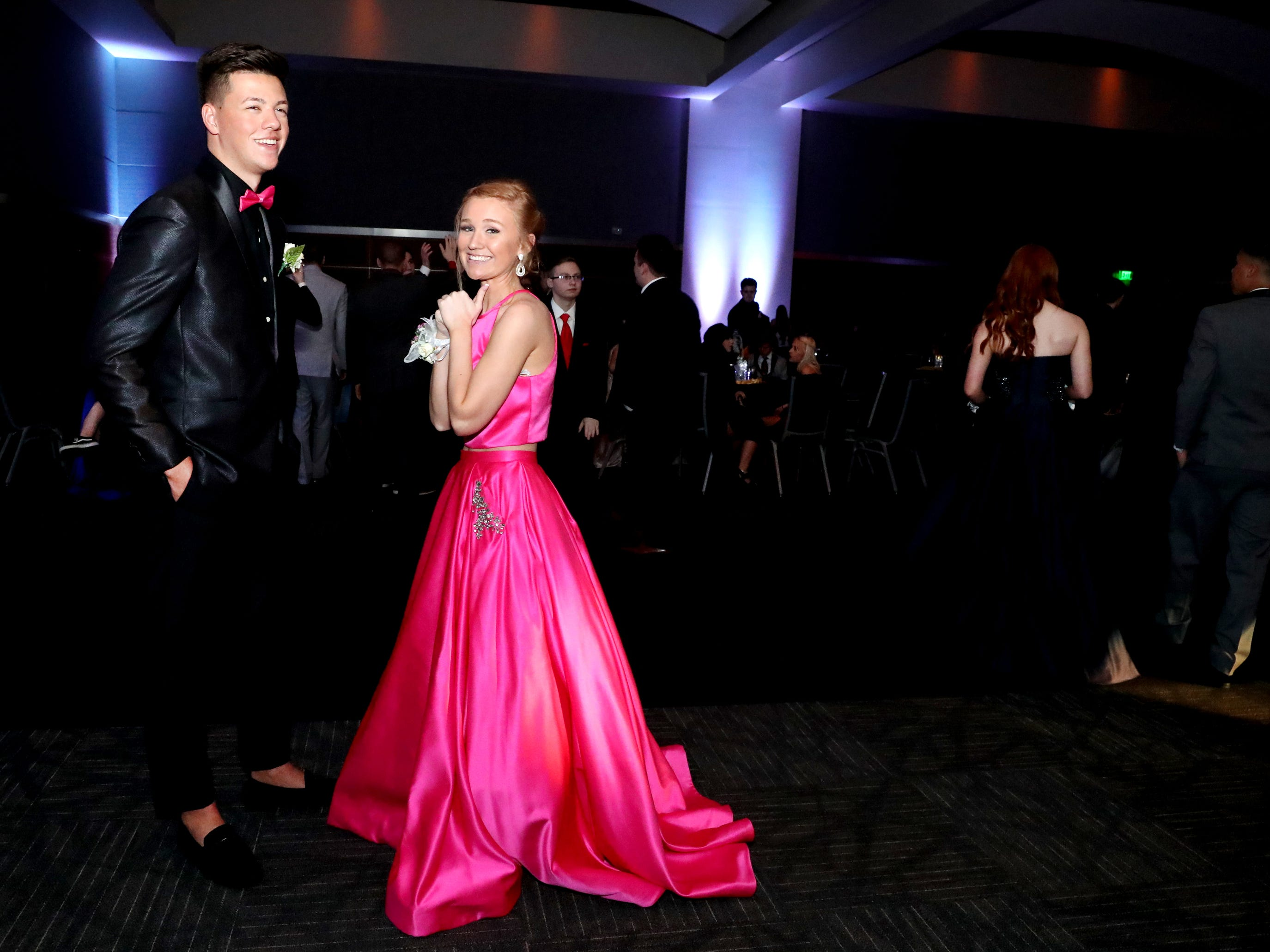 Luke Mooneyham, left and Brooke Stewart, right at Blackman's prom held on Friday April 12, 2019, at MTSU.