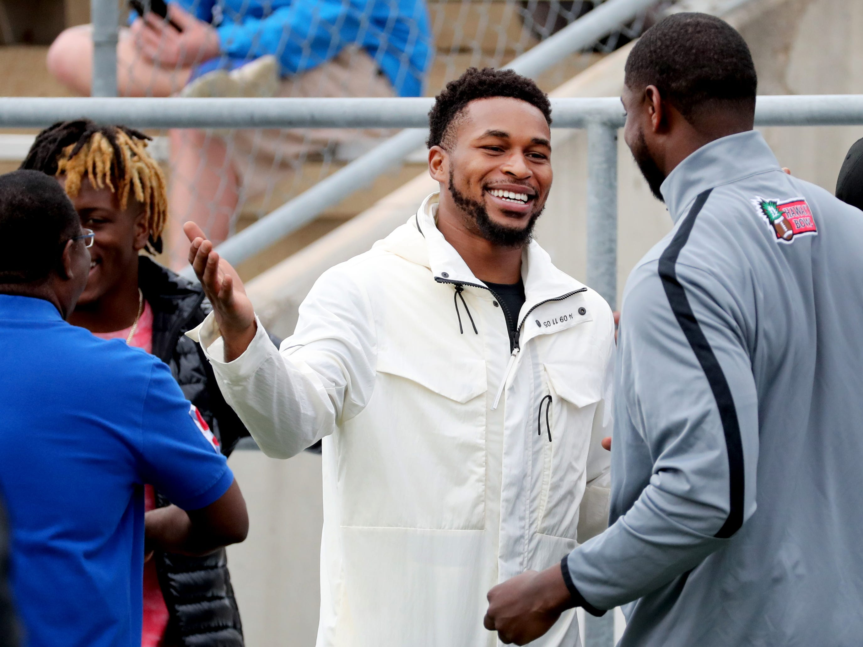"Former MTSU player and current Titan's player Kevin Byard on the sidelines during MTSU's Blue-White Spring Finale held on Saturday April 13, 2019, at MTSU's Johnny ""Red"" Floyd Stadium."