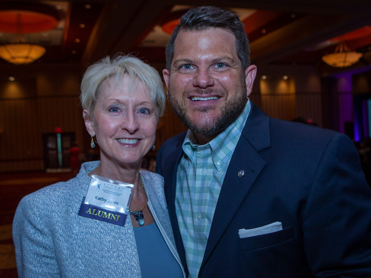 Kathy Jones and Justin Holder at the annual ATHENA Leadership Awards, hosted by Rutherford Cable Friday, April 12, 2019 at Embassy Suites Murfreesboro.