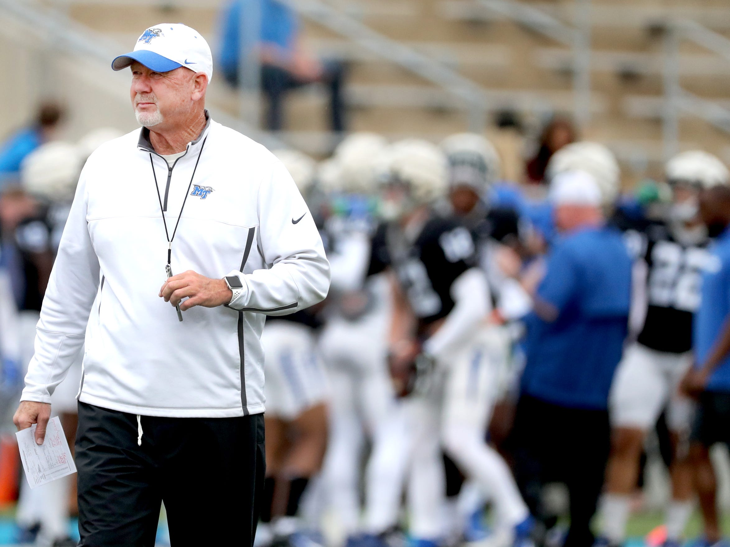"MTSU's head coach Rick Stockstill watches players during MTSU's Blue-White Spring Finale which was held on Saturday April 13, 2019, at MTSU's Johnny ""Red"" Floyd Stadium."