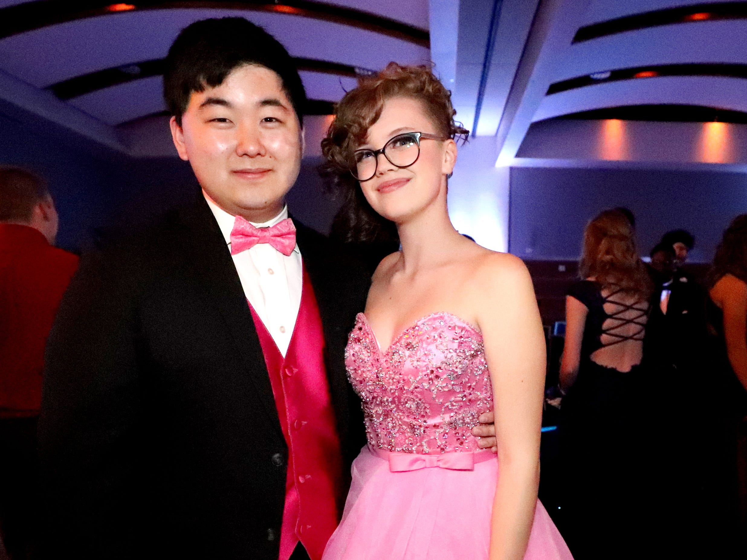 Ji Wan Son, left and Rachel Shores, right at Blackman's prom on Friday April 12, 2019, at MTSU.
