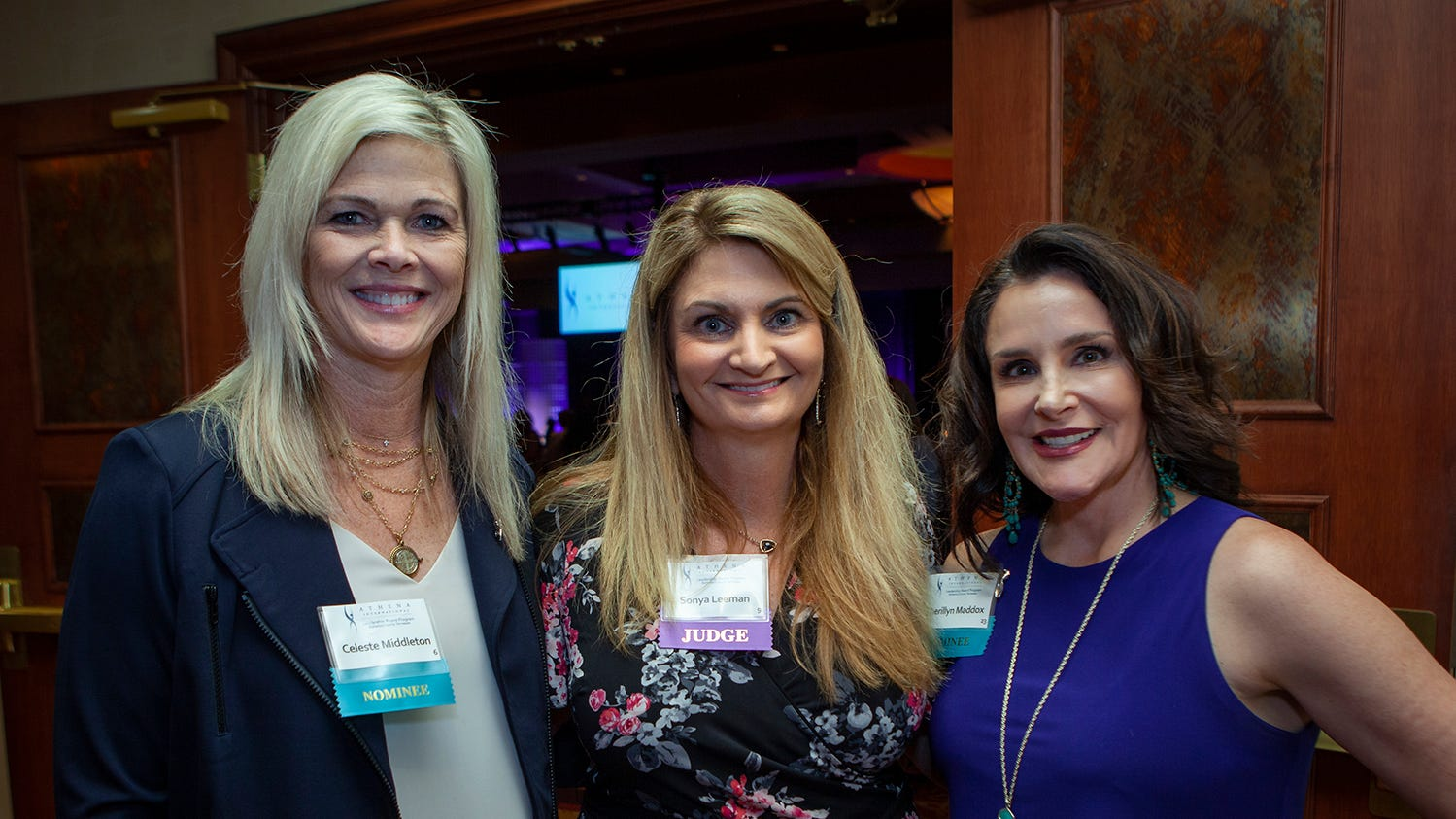 Celeste Middleton, Sonya Leeman and Cherillyn Maddox at the annual ATHENA Leadership Awards. Rutherford Cable  held the event Friday, April 12, 2019 at Embassy Suites Murfreesboro.