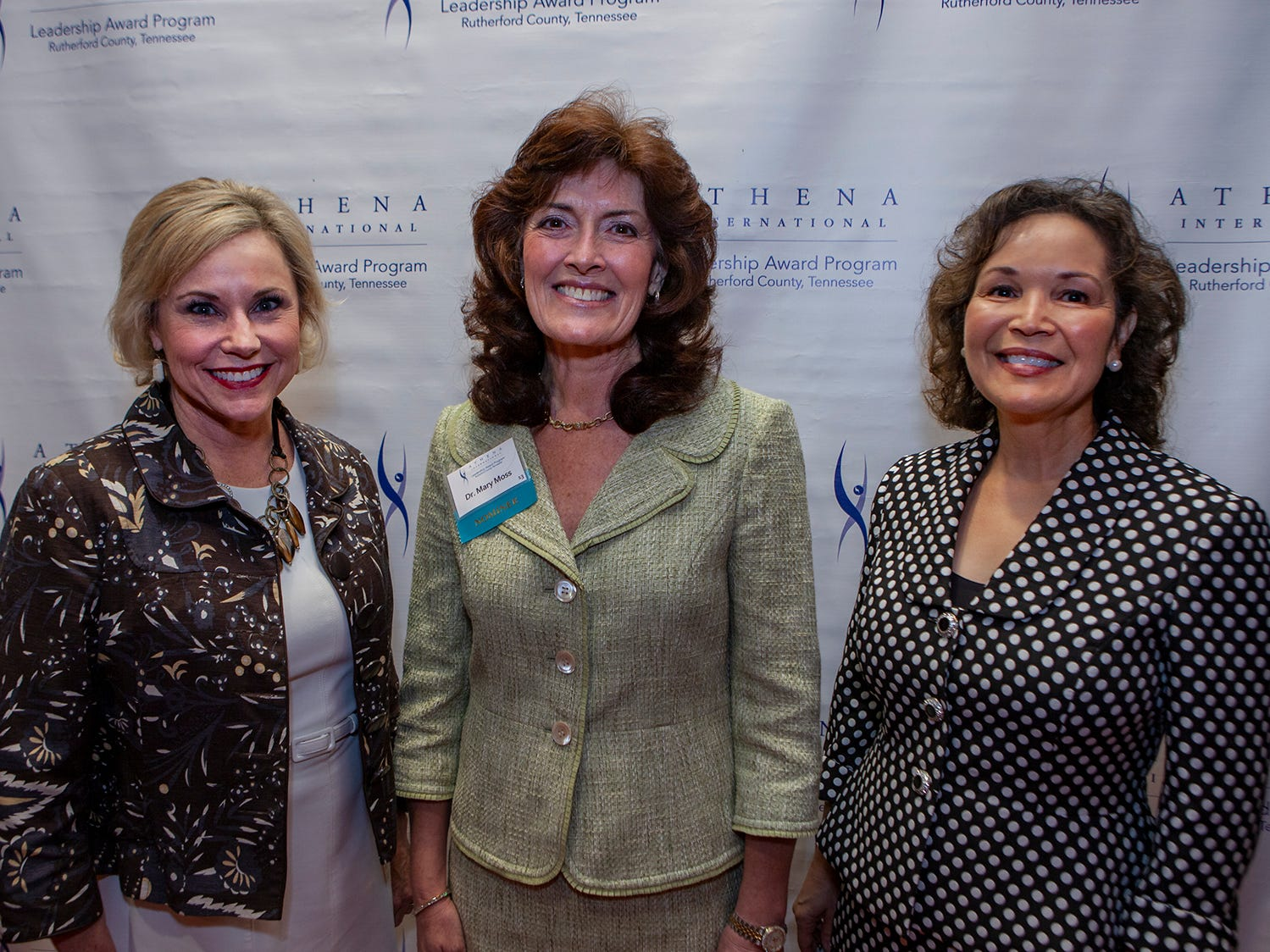 Carolyn Tumbleson, Dr. Mary Moss and Vicki Eastham at the annual ATHENA Leadership Awards. Rutherford Cable hosted the event Friday, April 12, 2019 at Embassy Suites Murfreesboro.
