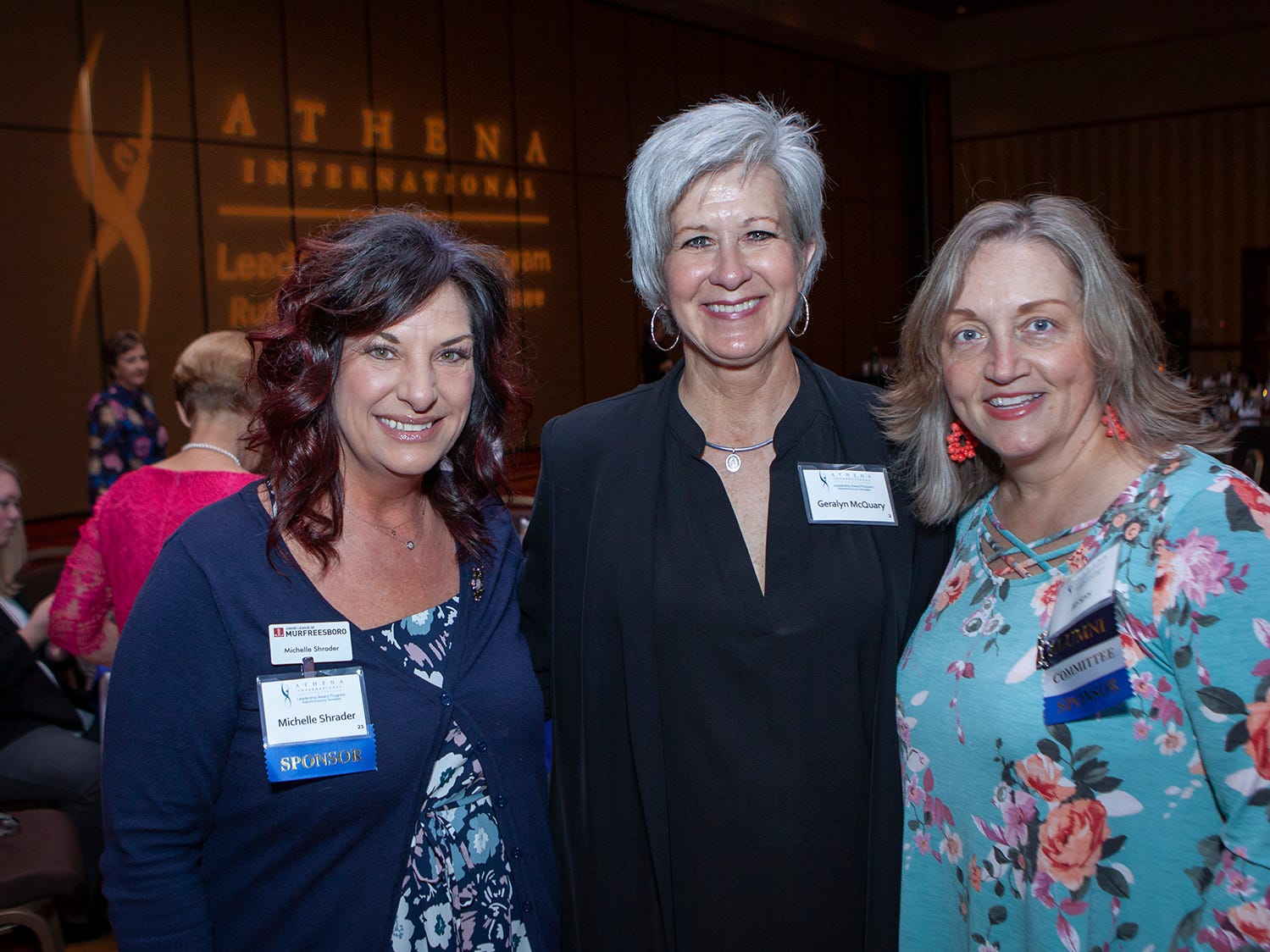 Michelle Shrader, Geralyn McQuary and Jill Spry at the annual ATHENA Leadership Awards, hosted by Rutherford Cable Friday, April 12, 2019 at Embassy Suites Murfreesboro.