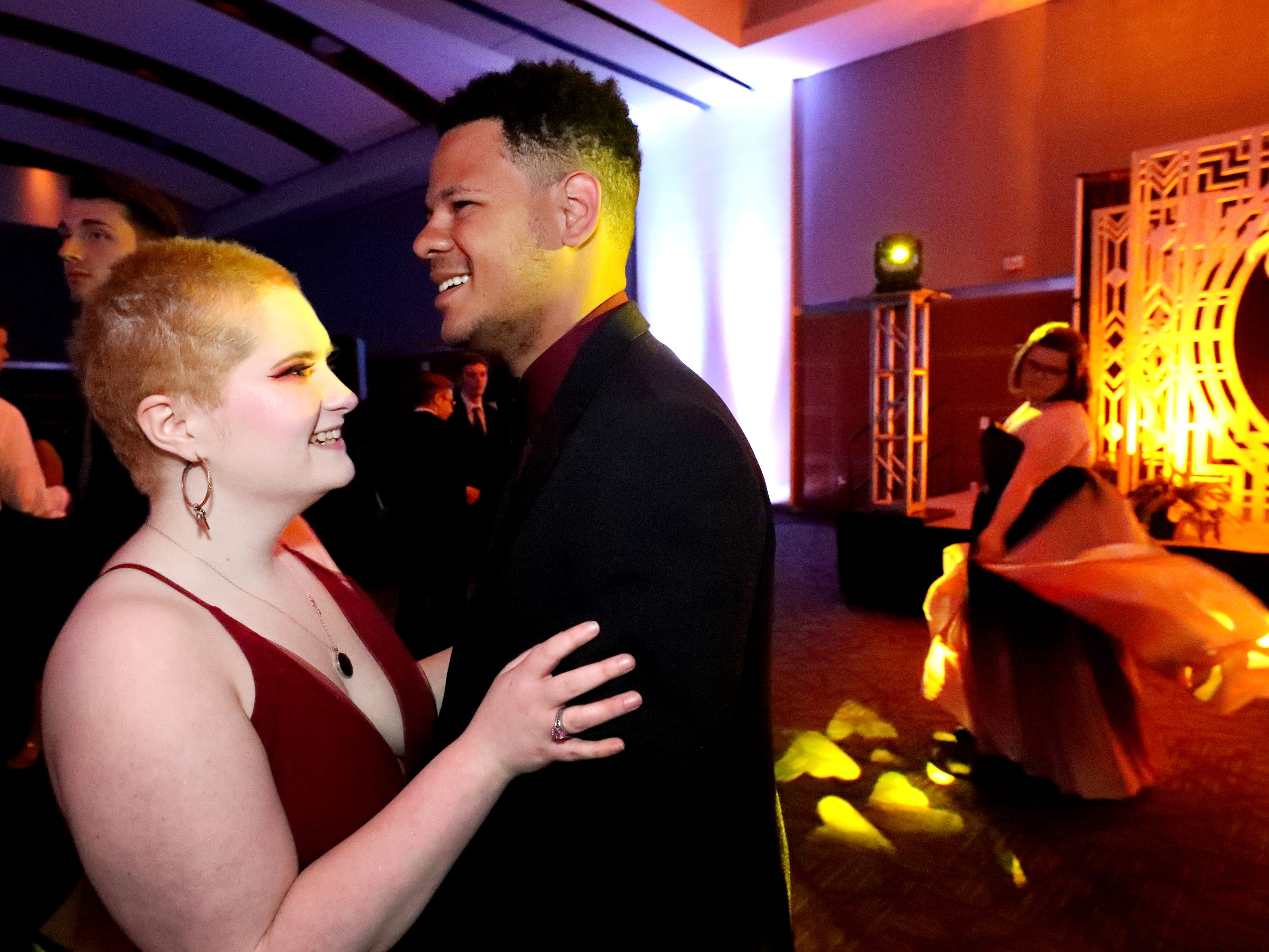 Molly Carr, left and Elijah Pippen, right dance at Blackman's prom on Friday April 12, 2019, at MTSU.
