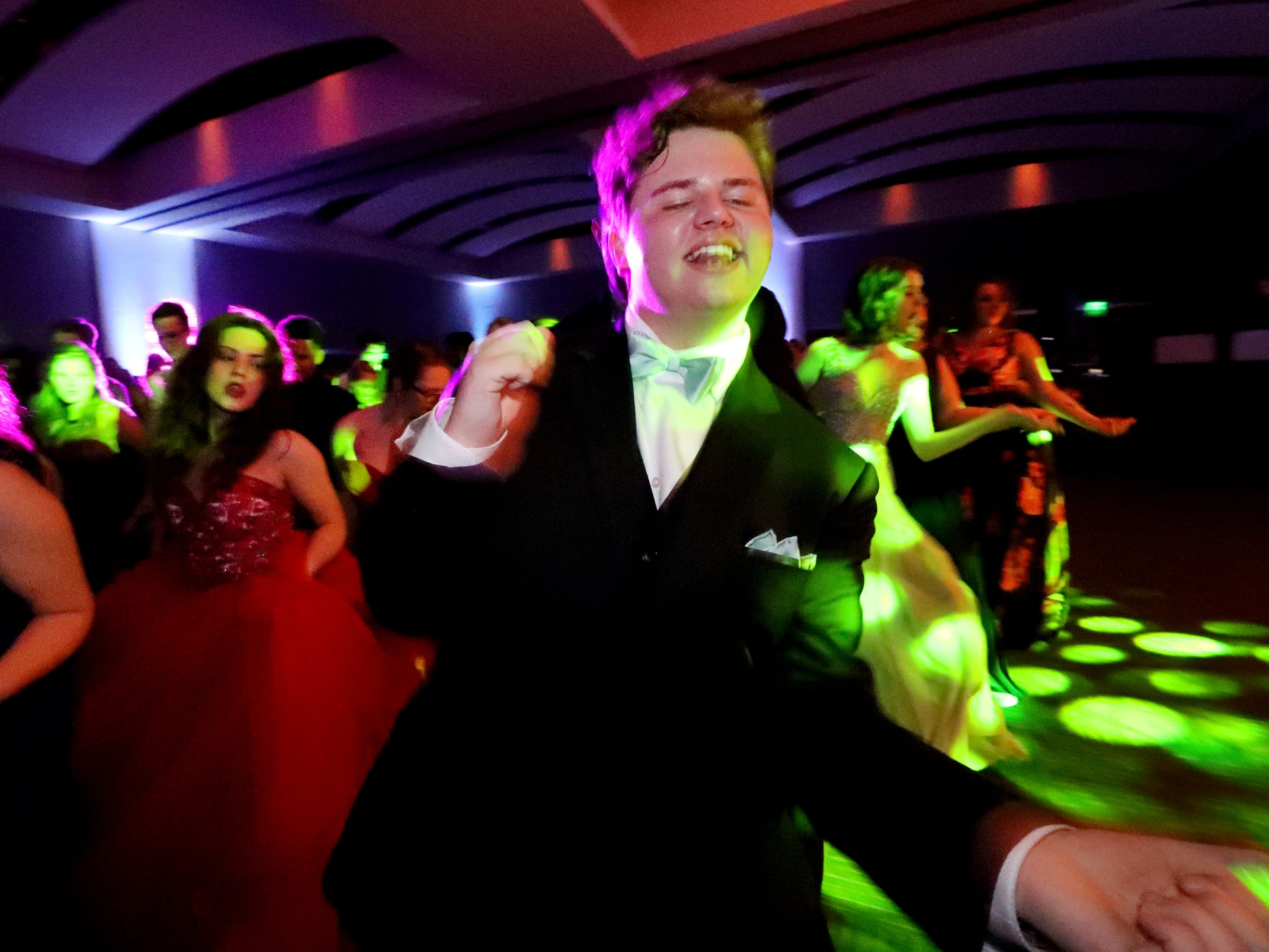 Aaron Music dances to the the beat during Blackman's prom on Friday April 12, 2019, at MTSU.