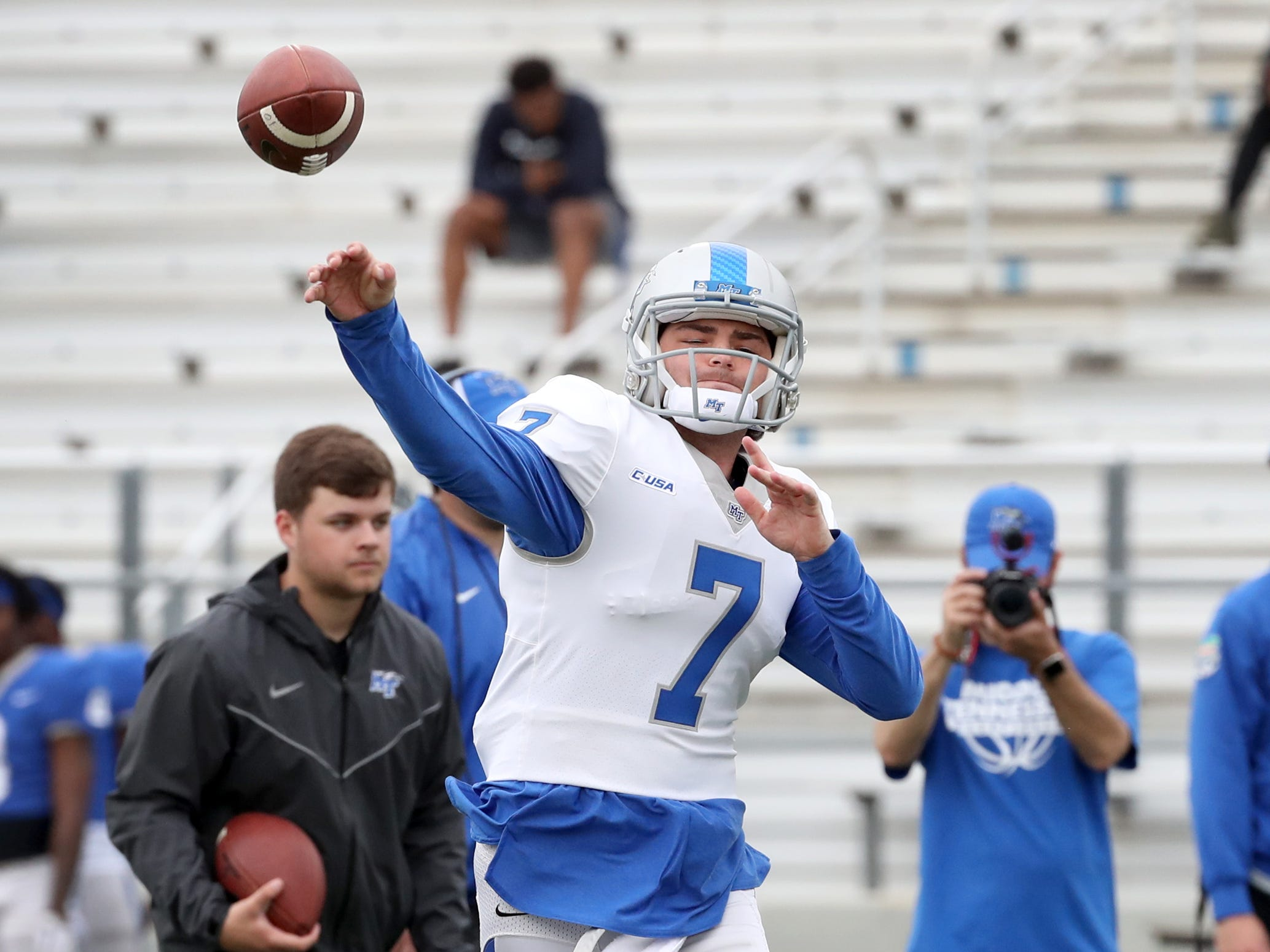 "MTSU's quarterback Jordan Middleton (7) passes the all during MTSU's Blue-White Spring Finale held on Saturday April 13, 2019, at MTSU's Johnny ""Red"" Floyd Stadium."