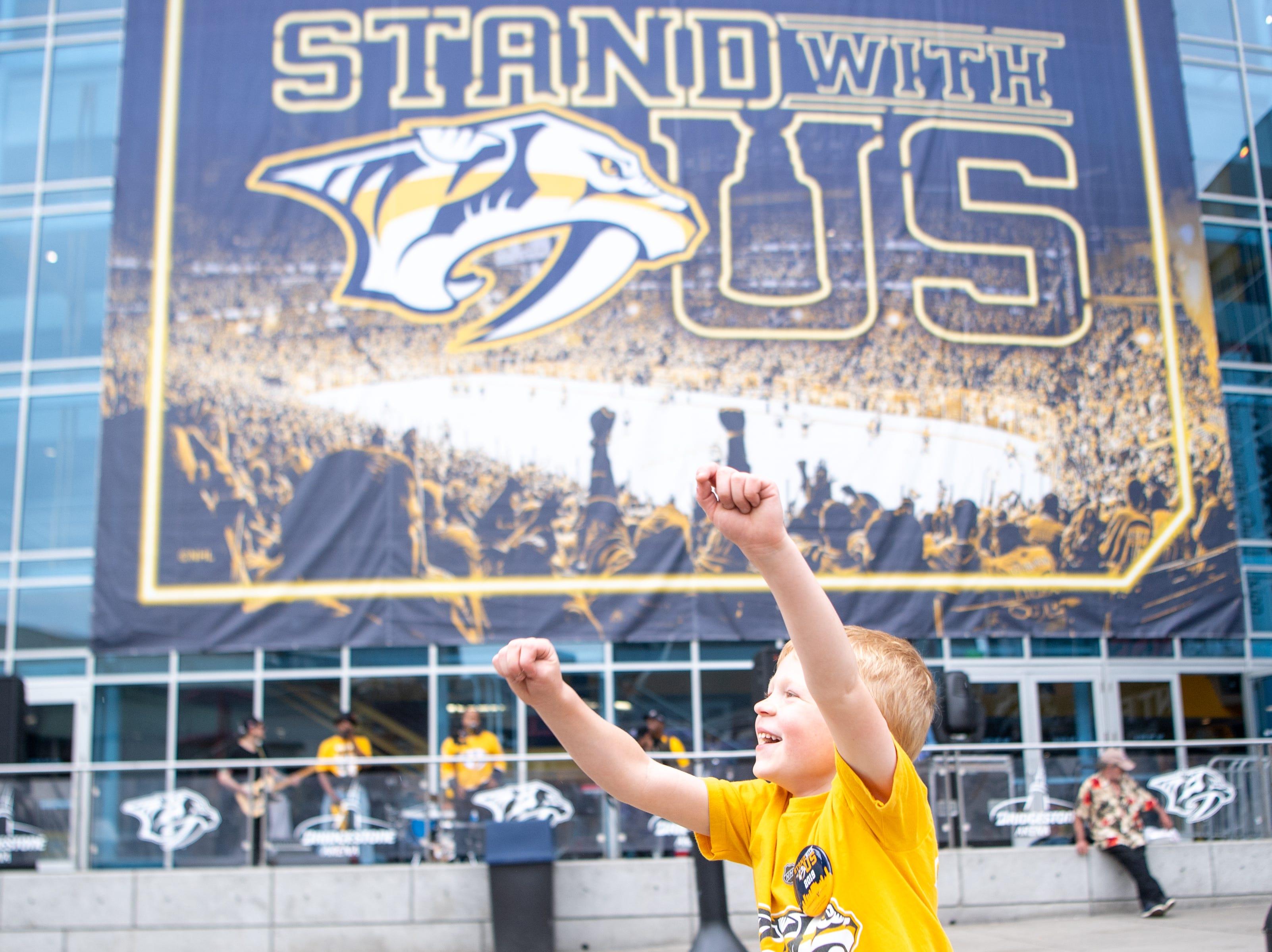 Riley Bolt, 6, dances before the Nashville Predators game against the Dallas Stars at Bridgestone Arena Saturday, April 13, 2019, in Nashville, Tenn.