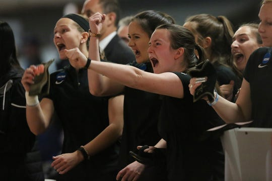 Vanderbilt bowlers celebrate during the 2019 NCAA tournament in Wickliffe, Ohio. The Commodores are the defending national champions.