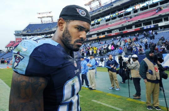 Tennessee Titans outside linebacker Derrick Morgan walks off the field after a game against the Atlanta Falcons at Nissan Stadium on Oct. 25, 2015.