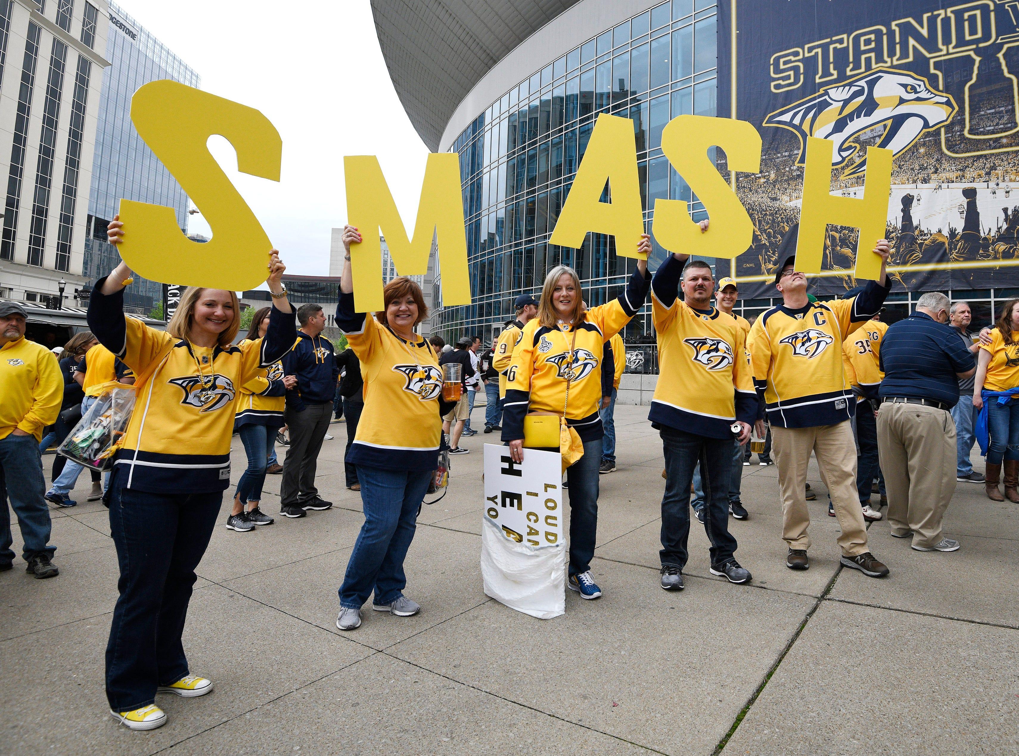 Fans show their Predators spirit before the divisional semifinal game against Dallas at Bridgestone Arena in Nashville, Tenn., Saturday, April 13, 2019.