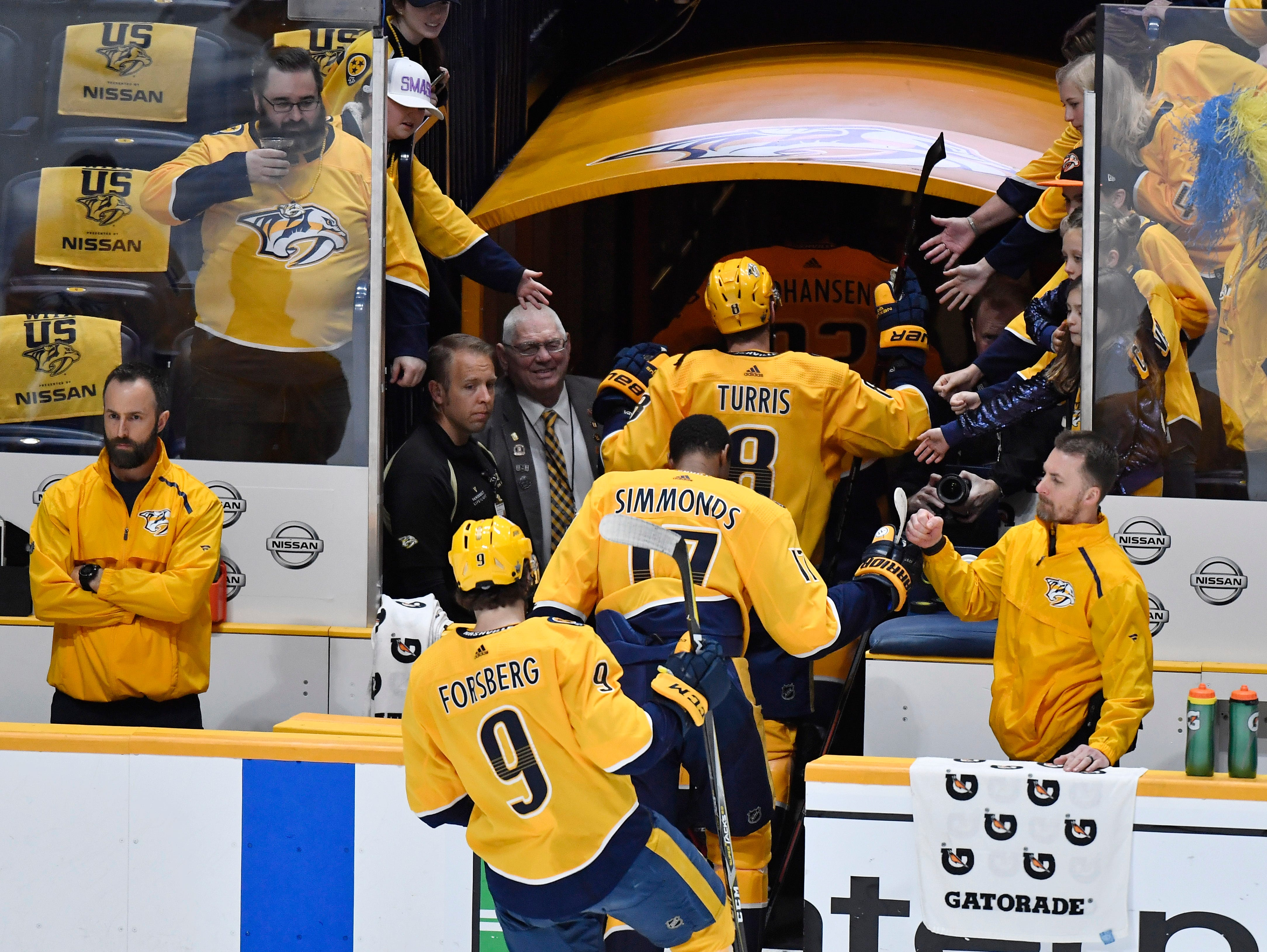 The Predators leave the ice after warmups before their divisional semifinal game against the Stars at Bridgestone Arena in Nashville, Tenn., Saturday, April 13, 2019.