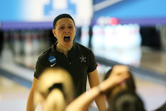 Vanderbilt bowler Samantha Gainor reacts during the 2019 NCAA tournament in Wickliffe, Ohio.