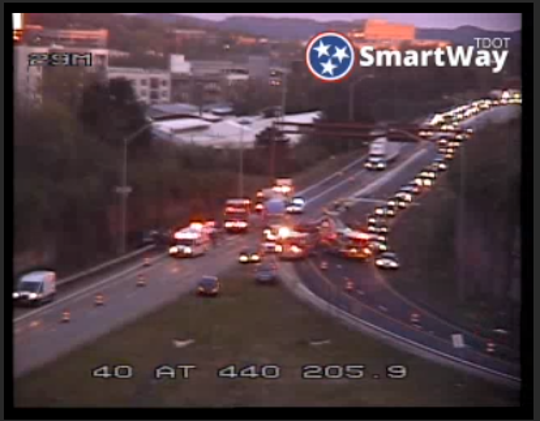 Emergency crews are responding to a crash that has closed Interstate 40/440 interchange near Charlotte Avenue in Nashville.