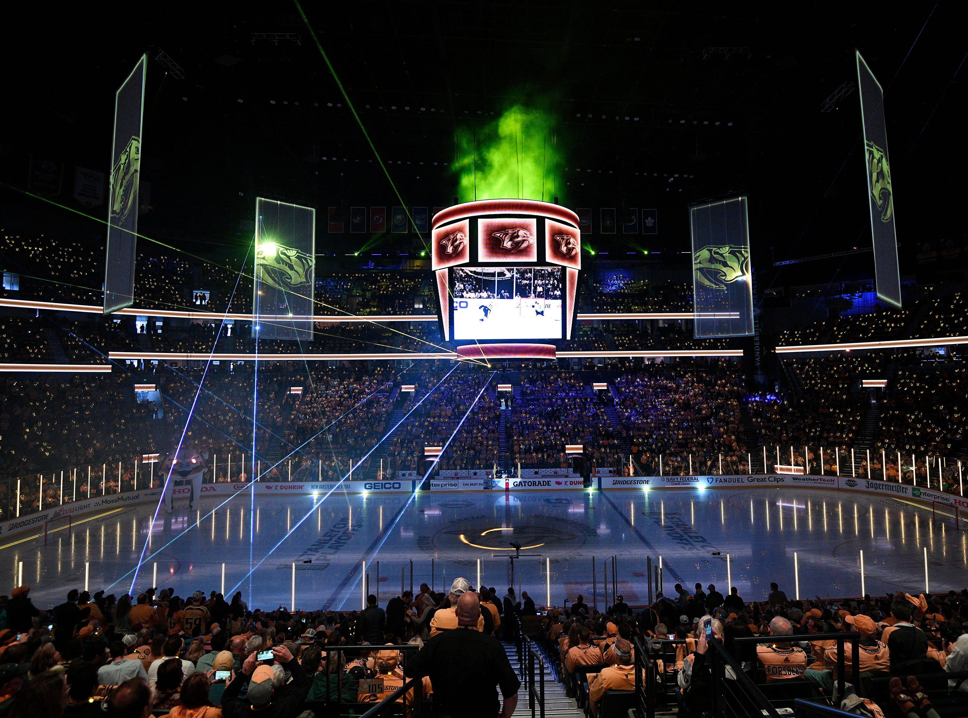 Pregame festivities before during the Predators' divisional semifinal game against the Stars at Bridgestone Arena in Nashville, Tenn., Saturday, April 13, 2019.