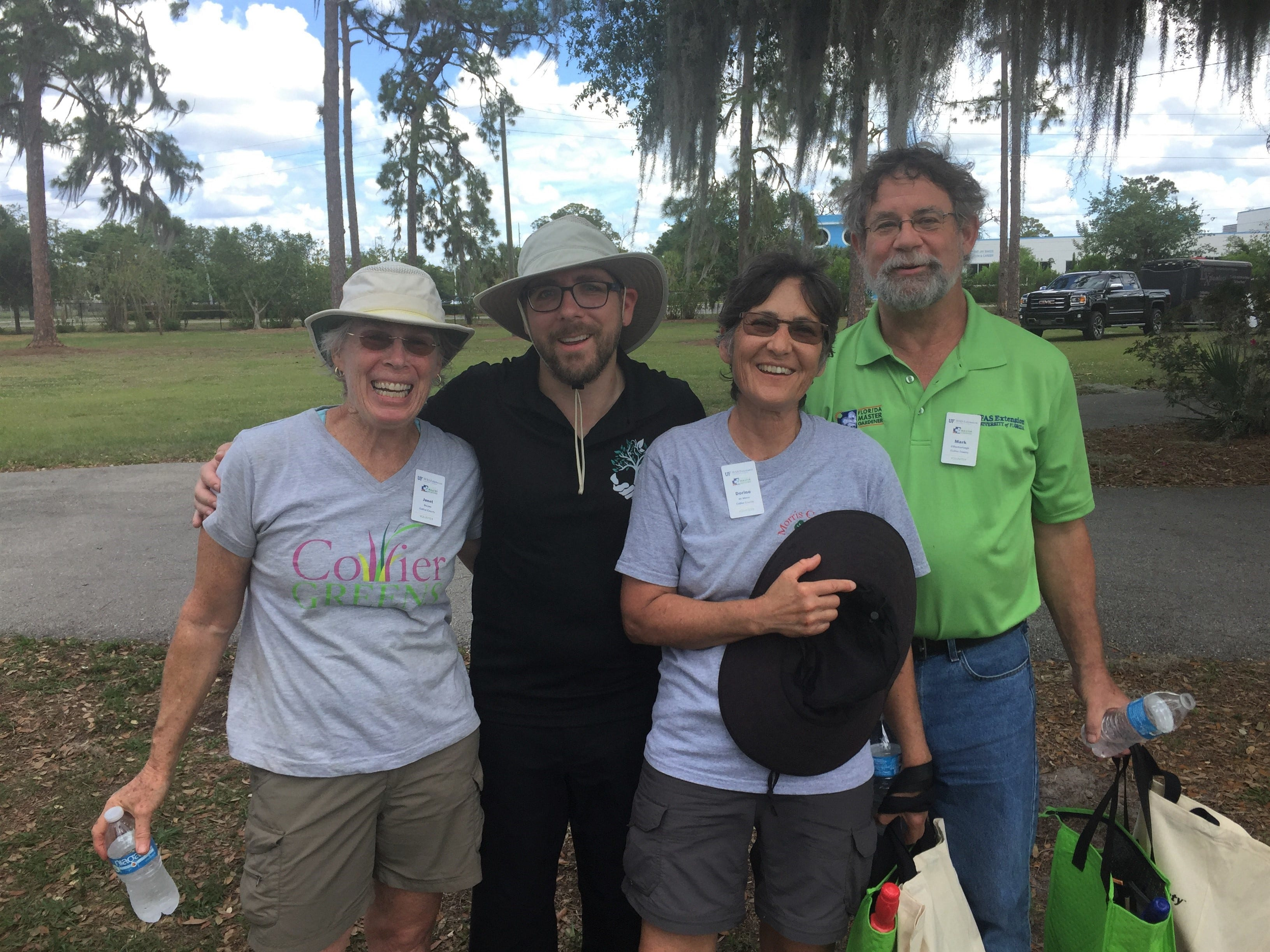 Informational stands and talks were part of the Earth Day event in Immokalee, with Collier County master gardeners participating; left, Janet DeLiso, Stephen Lawson, Dorine deMena and Mark O'Dochartaigh.