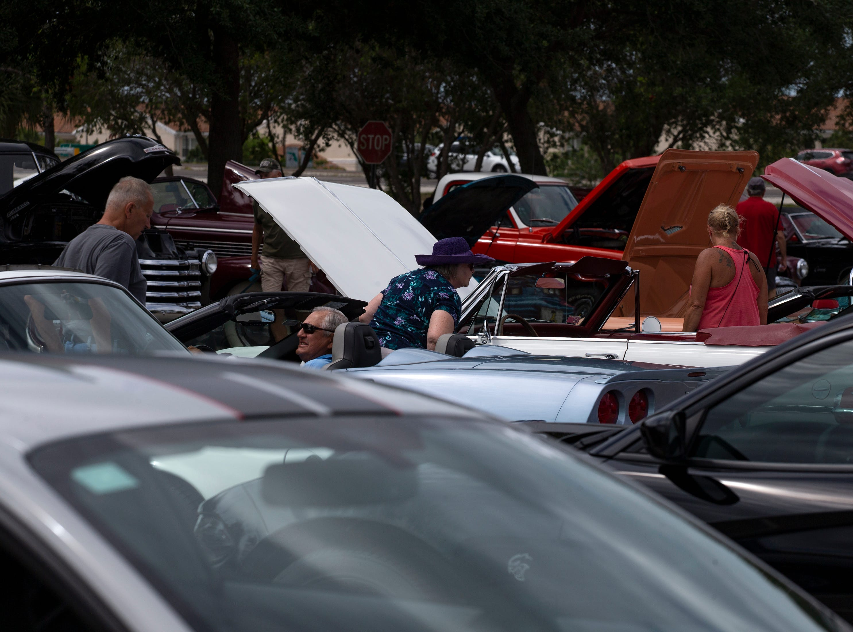 Car lovers look at vehicles on display during the Cruis'n for a Cause event on Saturday, April 13, 2019 at the Miromar Outlets in Estero.