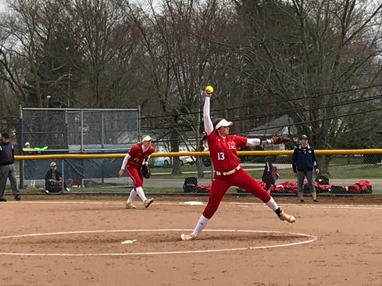 Former Lakewood All-Ohioan Courtney Vierstra delivers to the plate for Miami of Ohio against Kent State Friday at the Diamond at Dix.