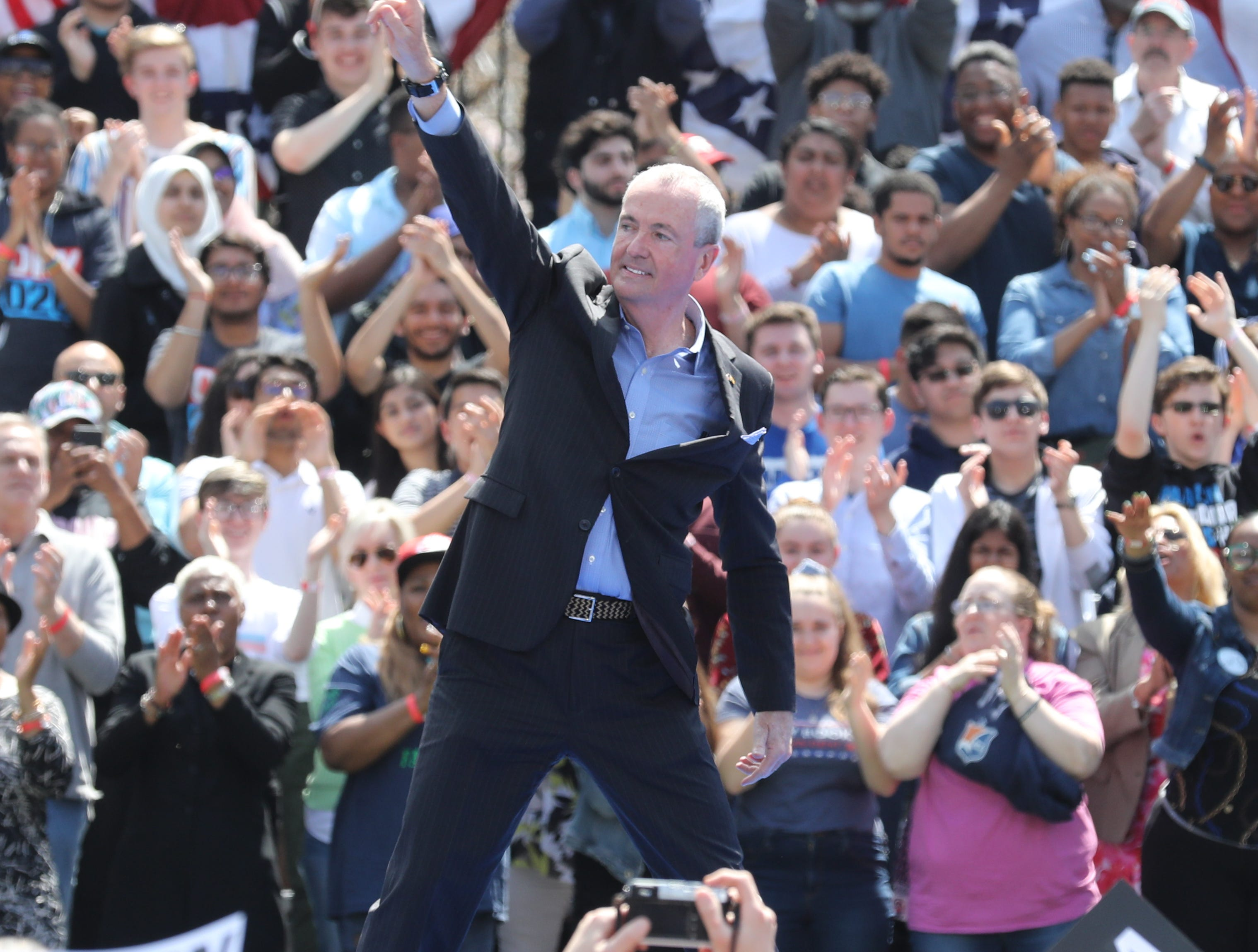 Governor Phil Murphy after he addressed supporters at a rally to kick off the Cory Booker campaign for president that was held at Military Park in Newark on April 13, 2019.