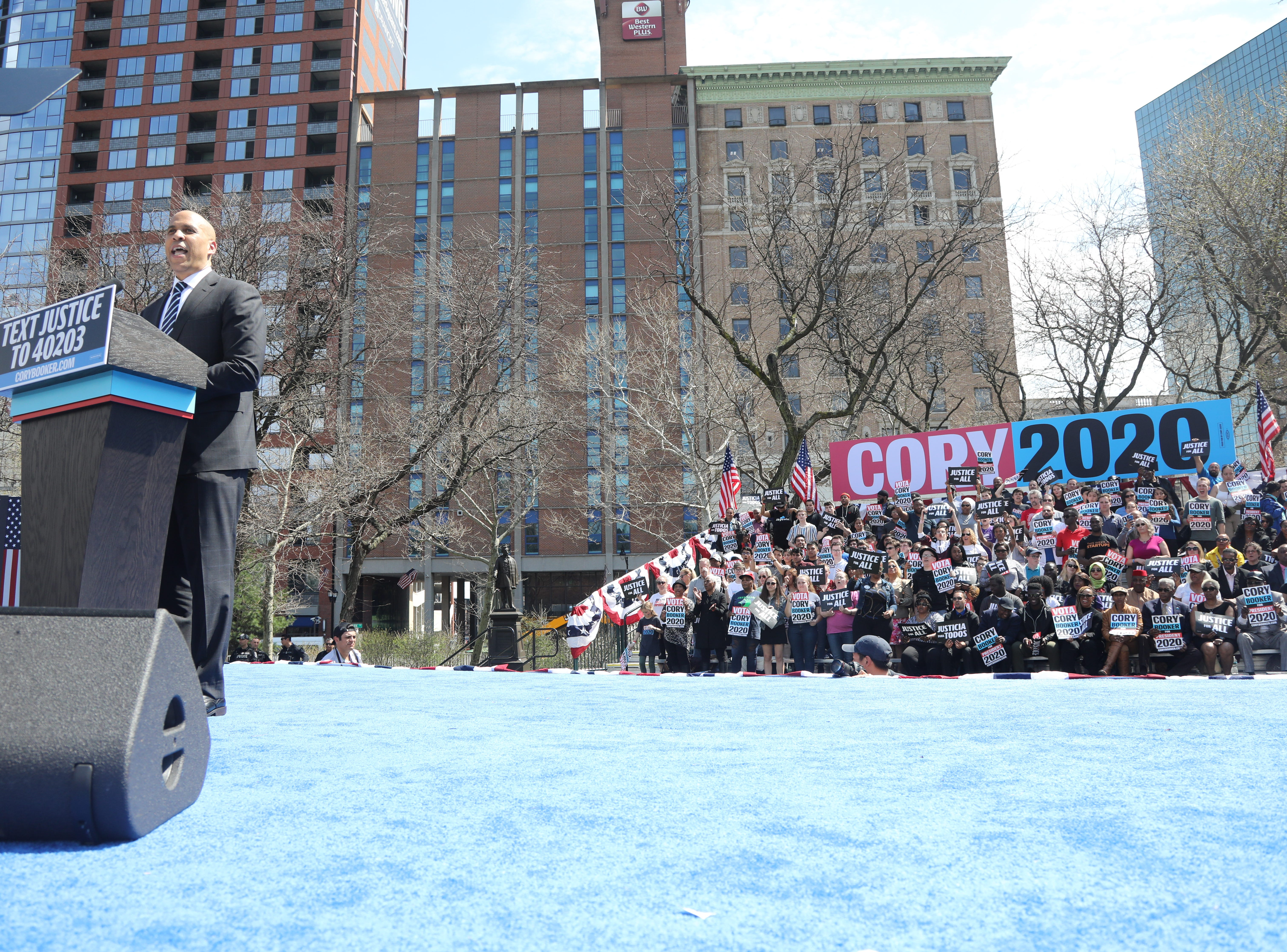 Senator Cory Booker addresses a supporters at a rally to kick off the Cory Booker campaign for president that was held at Military Park in Newark on April 13, 2019.