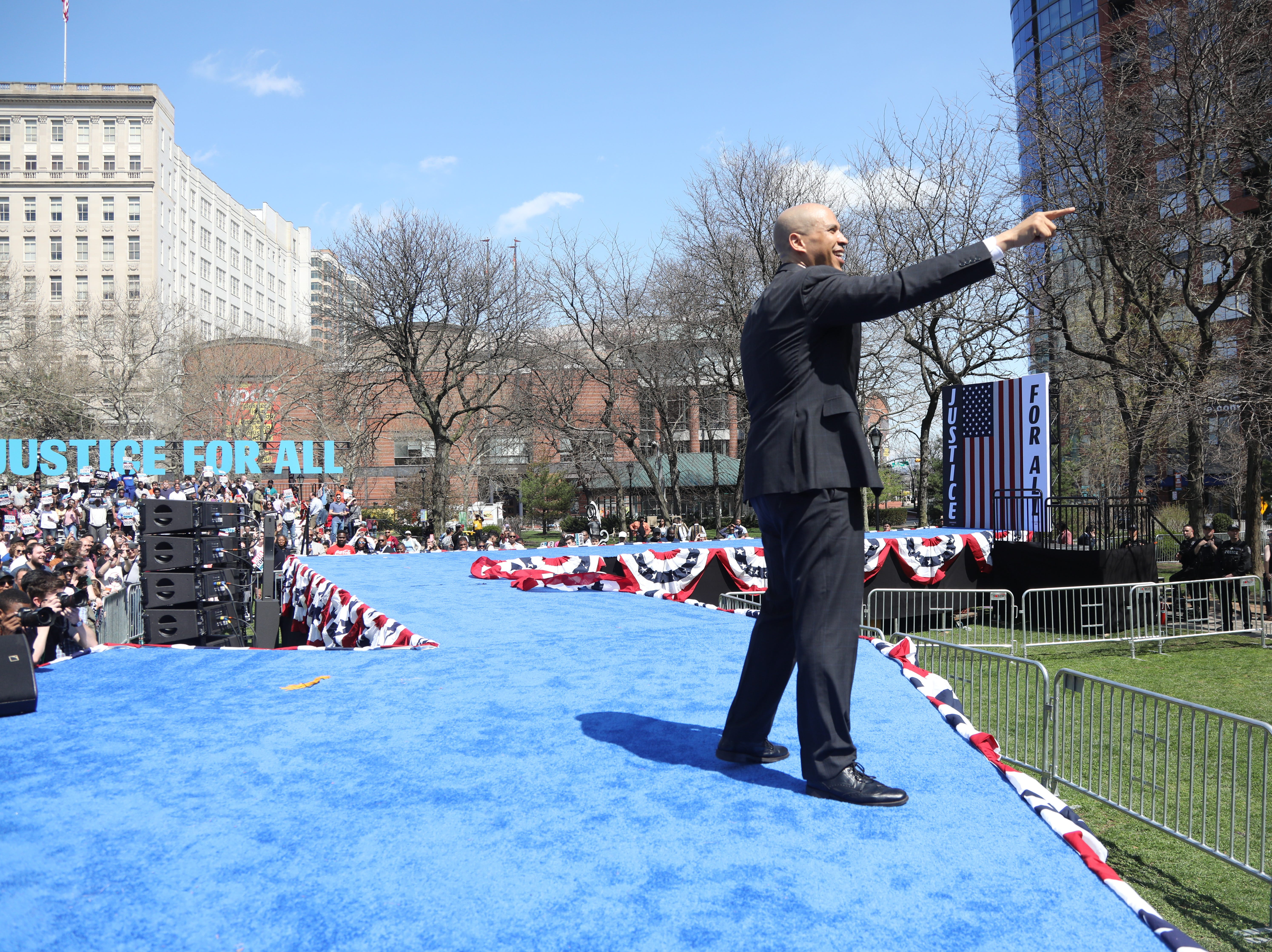 Senator Cory Booker thanks supporters for attending a rally to kick off the Cory Booker campaign for president that was held at Military Park in Newark on April 13, 2019.