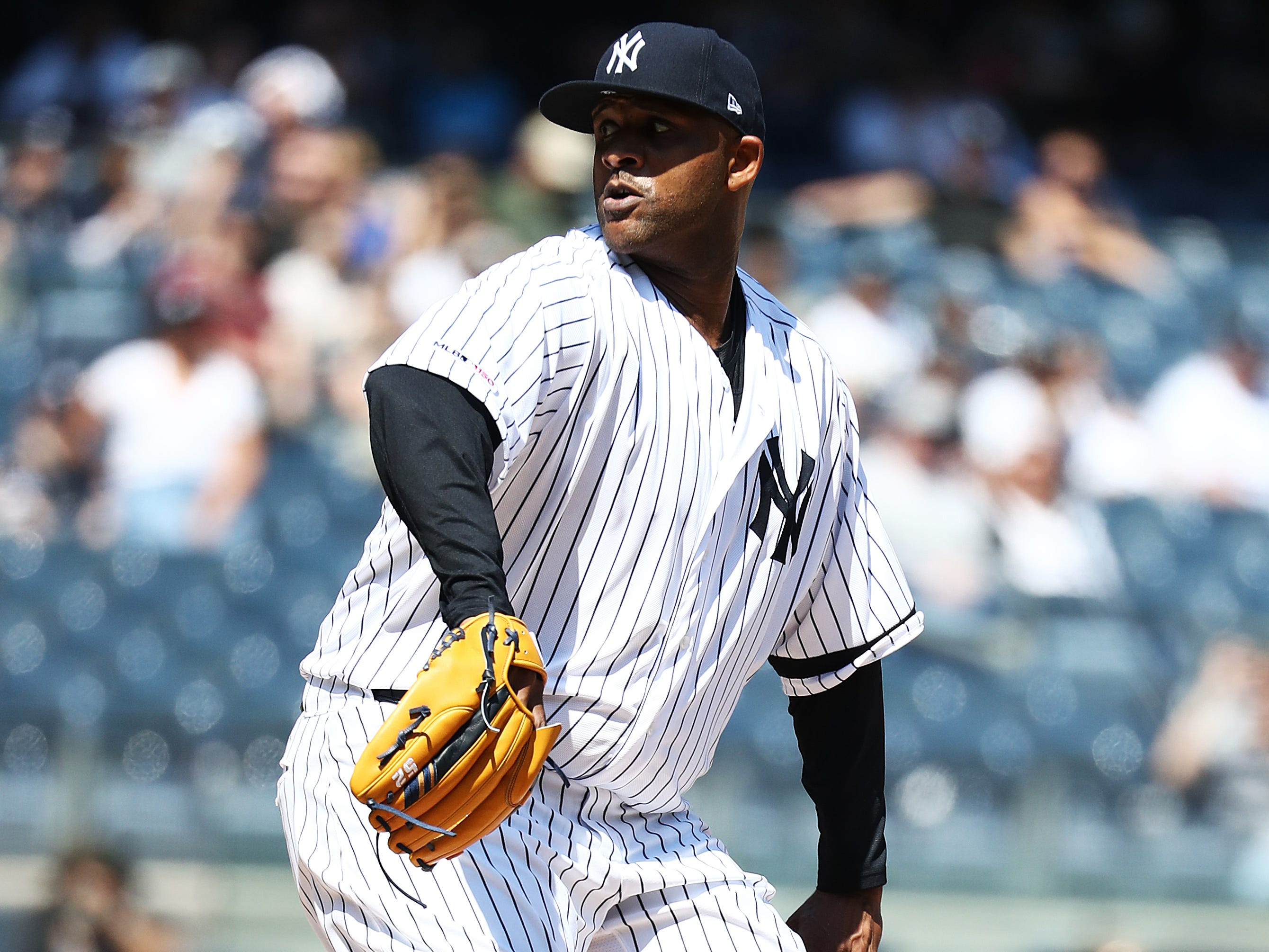 CC Sabathia #52 of the New York Yankees makes his first start of his last season in Major League Basebal against the Chicago White Sox during their game at Yankee Stadium on April 13, 2019 in New York City.