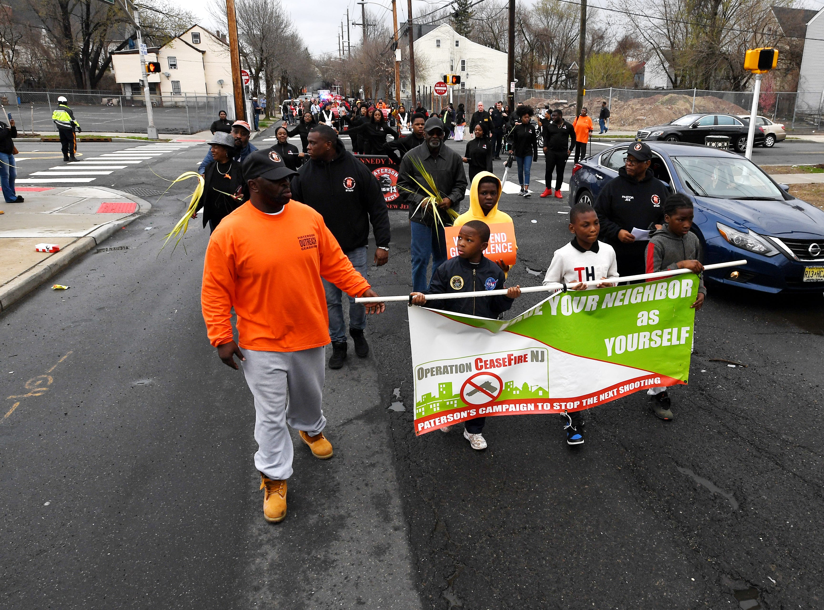 Paterson Peace March on North Main Street on Saturday, April 13, 2019.