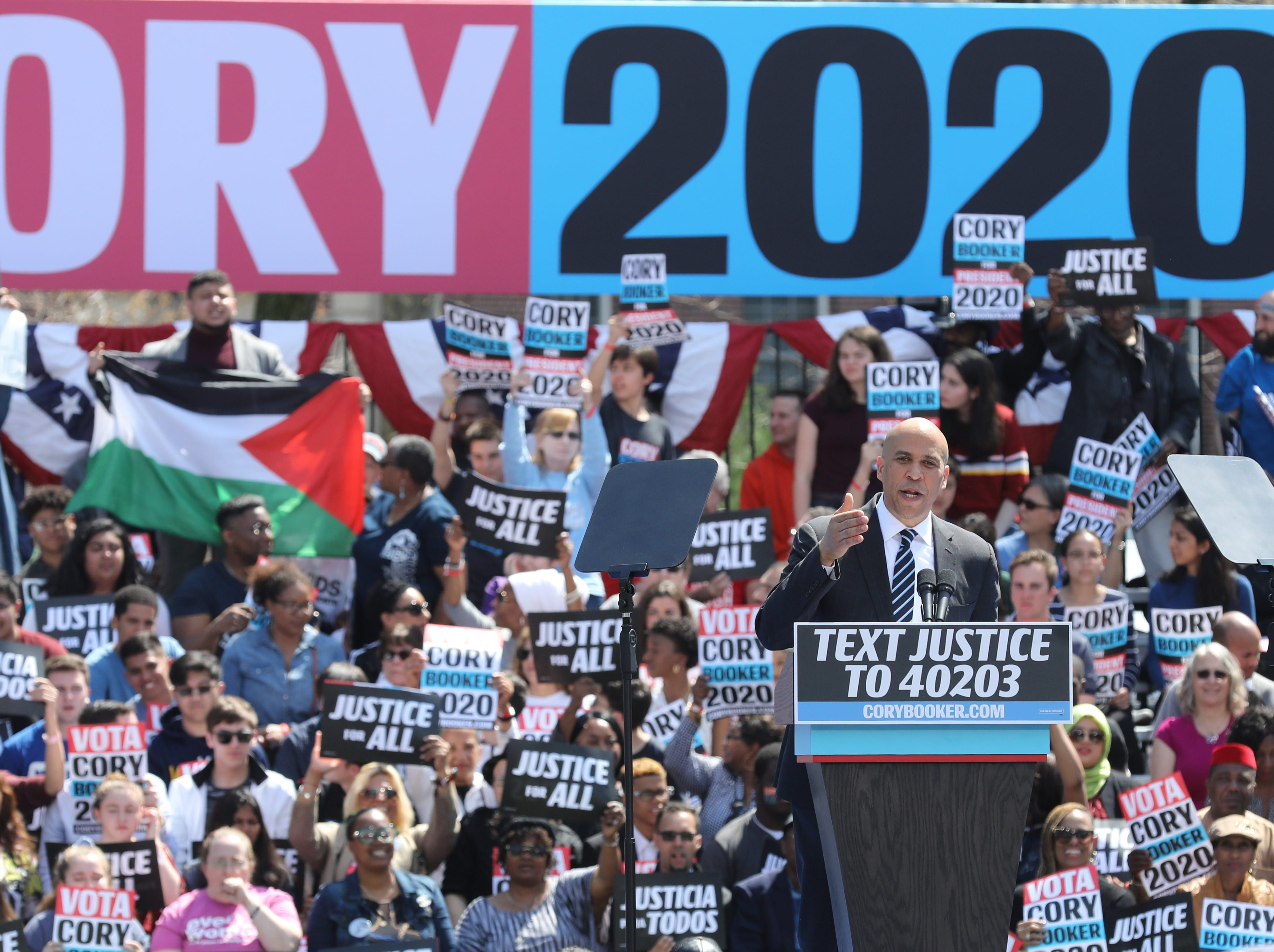 Senator and presidential candidate Cory Booker addresses supporters at a rally to kick off the Cory Booker campaign for president that was held at Military Park in Newark on April 13, 2019.