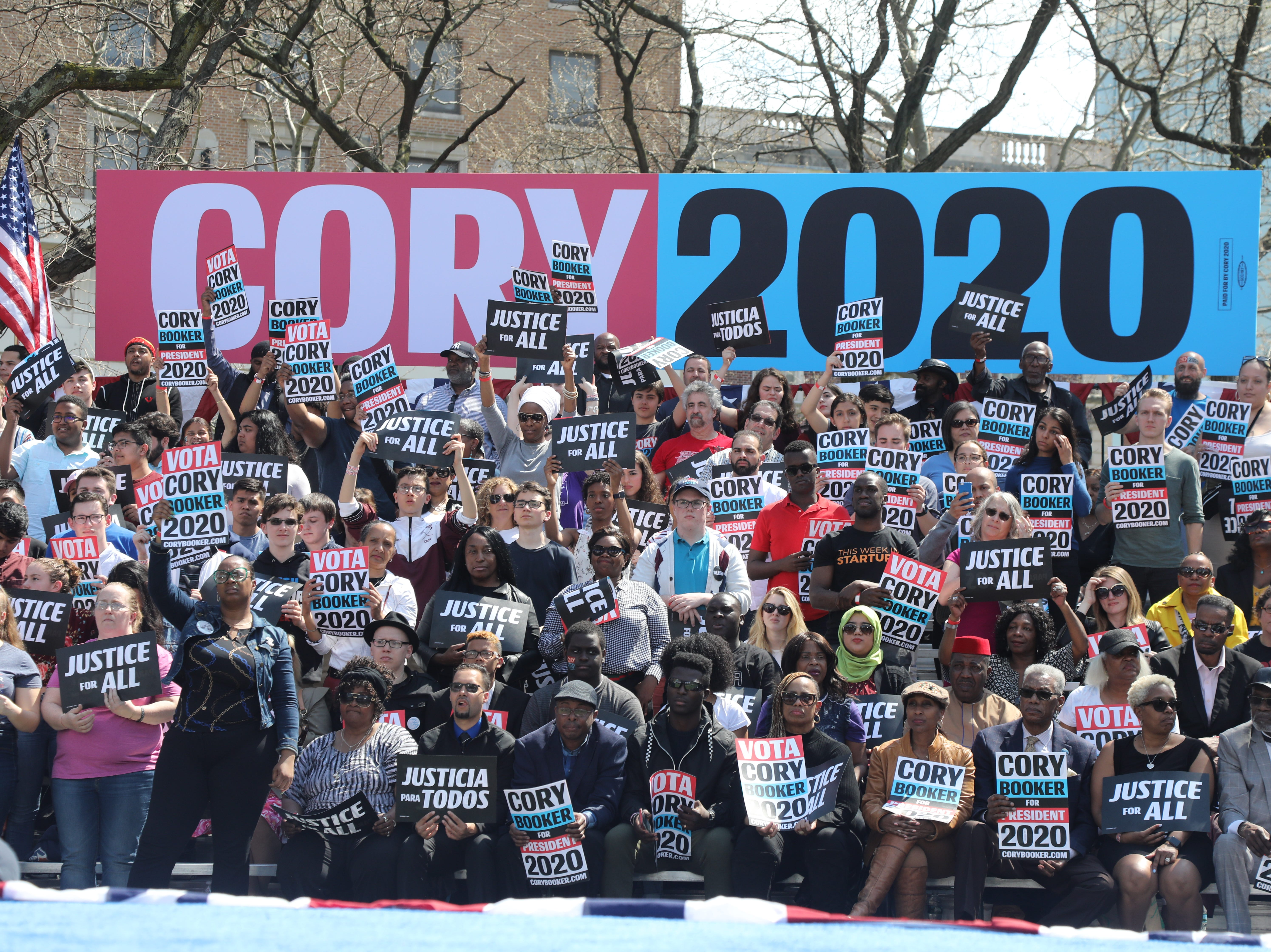 Supporters at a rally to kick off the Cory Booker campaign for president that was held at Military Park in Newark on April 13, 2019.
