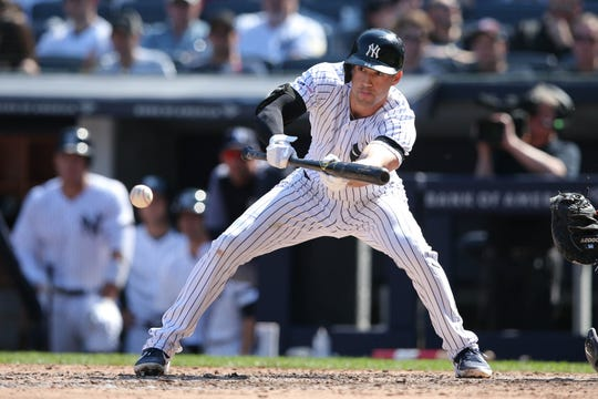 Tyler Wade hits an RBI sacrifice bunt against the White Sox during the seventh inning at Yankee Stadium.