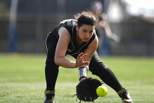 Bergen Tech softball vs. Waldwick in the Donna Ricker Tournament at Wood-Ridge High School on Saturday, April 13, 2019. BT #30 Vicky Villaneuva.
