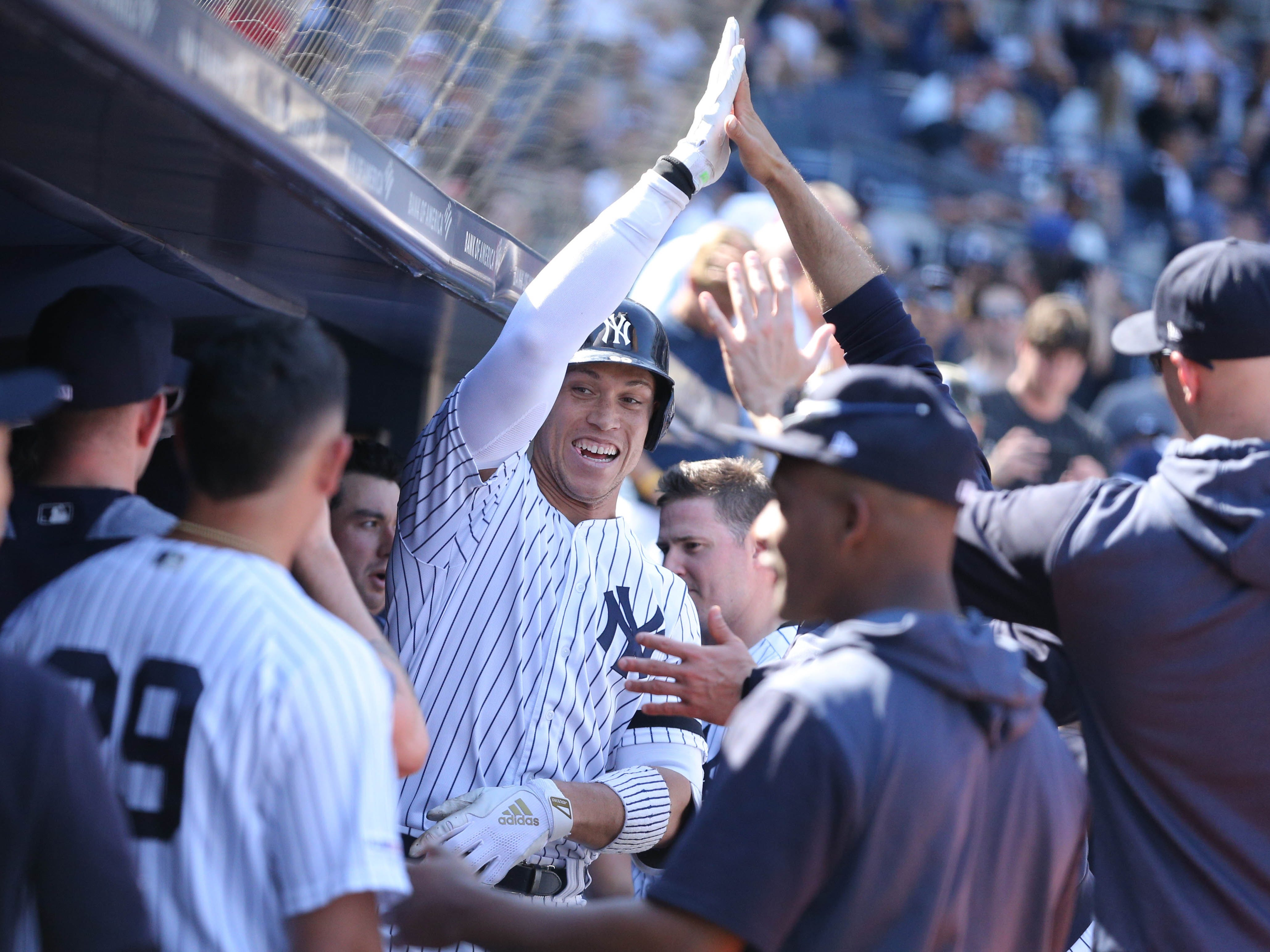 Apr 13, 2019; Bronx, NY, USA; New York Yankees right fielder Aaron Judge (99) celebrates his solo home run against the Chicago White Sox with teammates in the dugout during the eighth inning at Yankee Stadium.