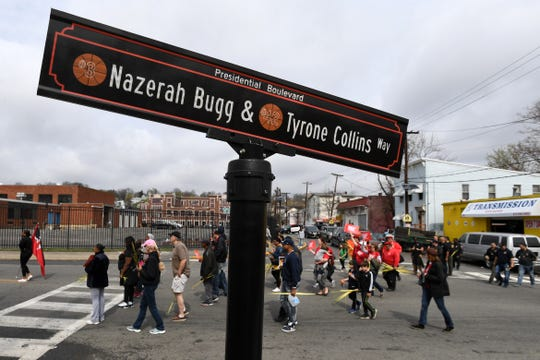 Paterson Peace March on Nazerah Bugg & Tyrone Collins Way on Saturday, April 13, 2019.