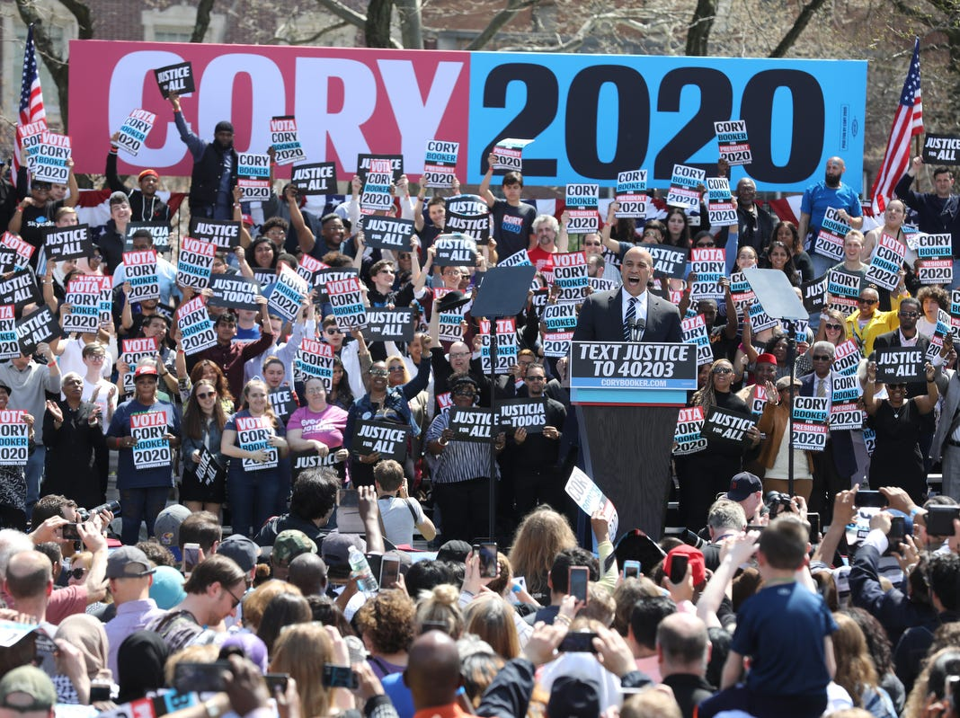 Senator Cory Booker speaks at a rally to kick off the Cory Booker campaign for president that was held at Military Park in Newark on April 13, 2019.