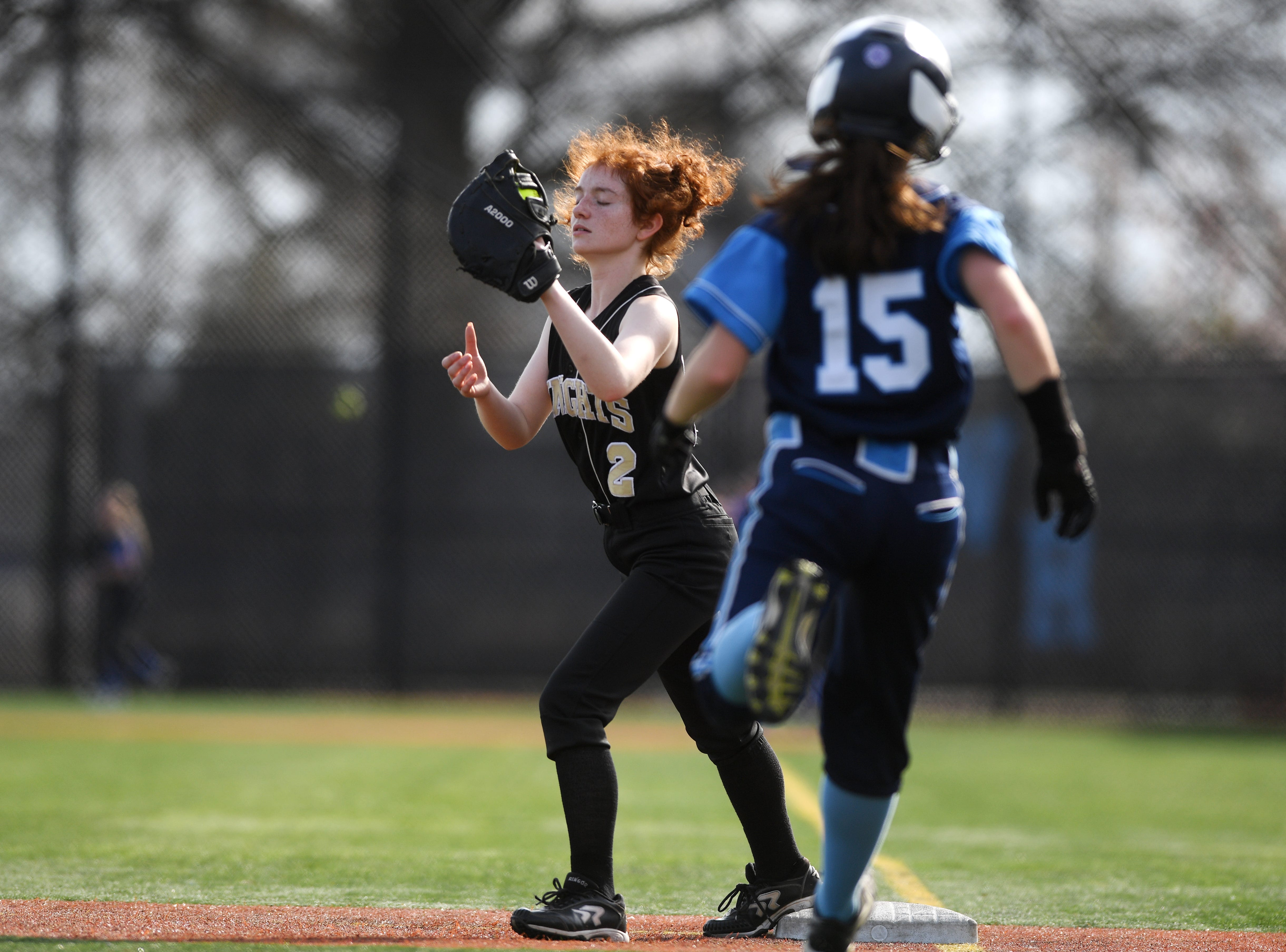 Bergen Tech softball vs. Waldwick in the Donna Ricker Tournament at Wood-Ridge High School on Saturday, April 13, 2019. BT #Casey Calabrese gets the out at first.
