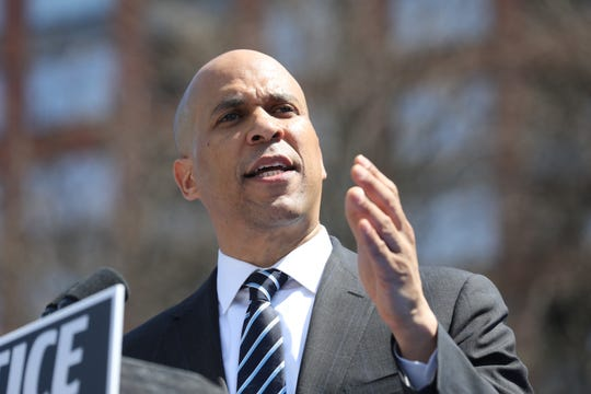 Senator Cory Booker addresses a supporters at a rally to kick off the Cory Booker campaign for president that was held at Military Park in Newark. Booker has endorsed the idea of studying the issue of possible reparations for those whose ancestors were sold into slavery.