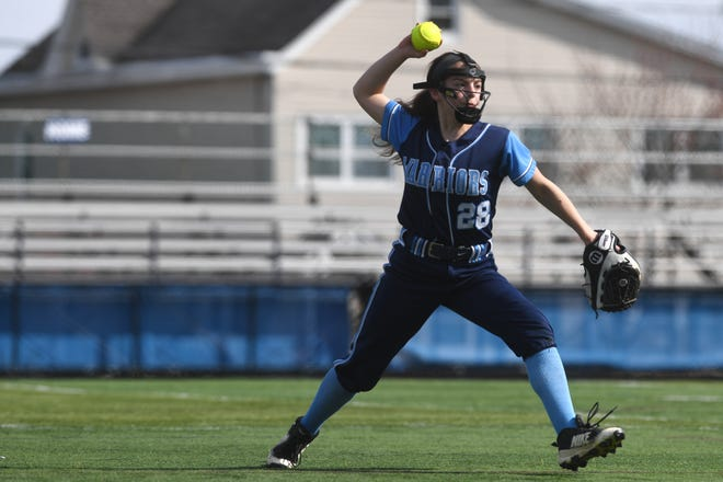 Bergen Tech softball vs. Waldwick in the Donna Ricker Tournament at Wood-Ridge High School on Saturday, April 13, 2019. W #28 Melanie Buschgans.