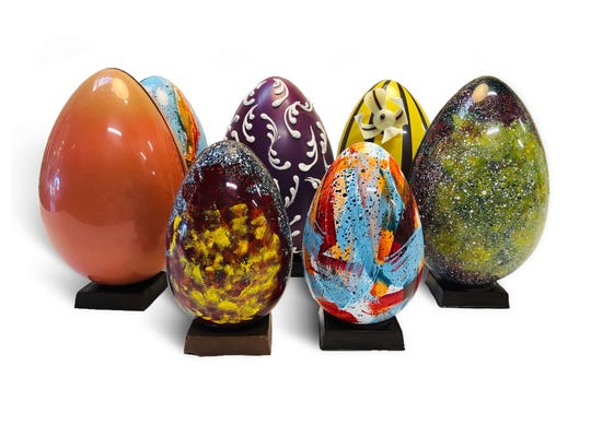 Sook Pastry's designer eggs stand about 7.5 inches tall.