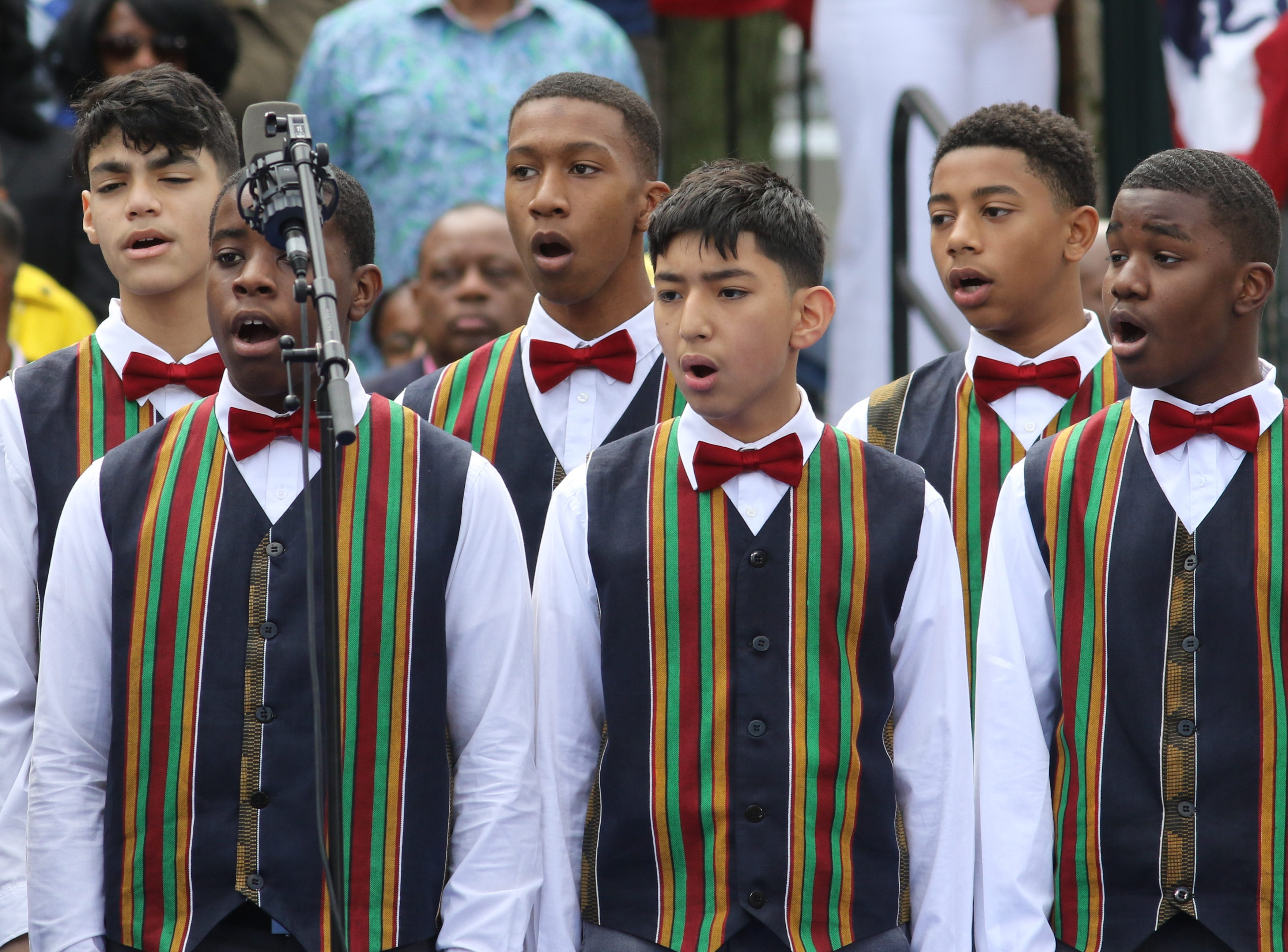 The Newark Boys Choir sings before a rally to kick off the Cory Booker campaign for president was held at Military Park in Newark on April 13, 2019.