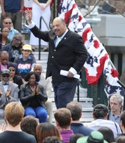 NJ Democratic Committee Chair John Currie is introduced to speak before a rally to kick off the Cory Booker campaign for president that was held at Military Park in Newark on April 13, 2019.