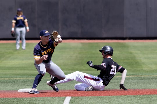 New Mexico State's Jason Rush beats the tag at second base during Saturday's game against Northern Colorado at Presley Askew Field.