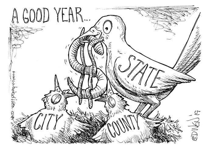 Editorial cartoon published April 7, 2019