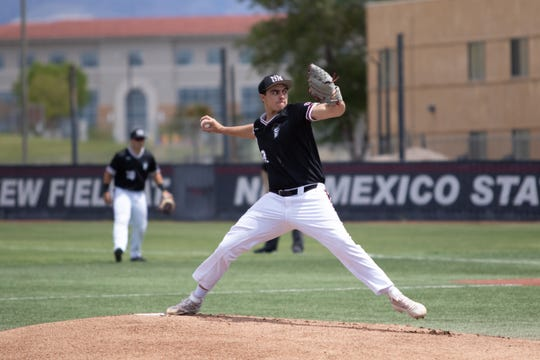 New Mexico State pitcher Justin Dehn pitched a shutout against Northern Colorado on Saturday at Presley Askew Field.