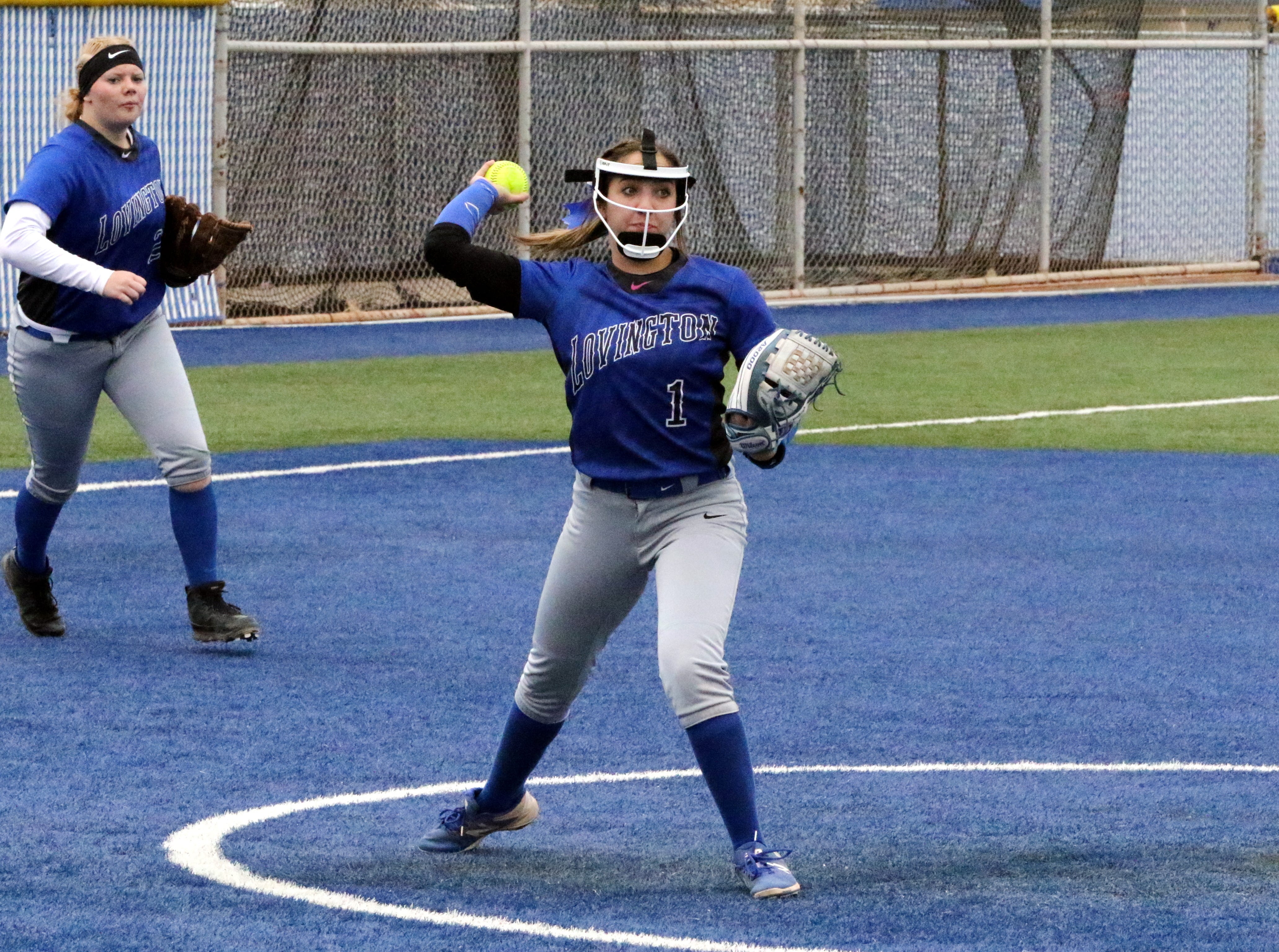 Kaeleigh Smith-Vega throws to first base to record an out after stopping a hotshot hit back to her in the first game of Lovington's doubleheader against Carlsbad on Friday.